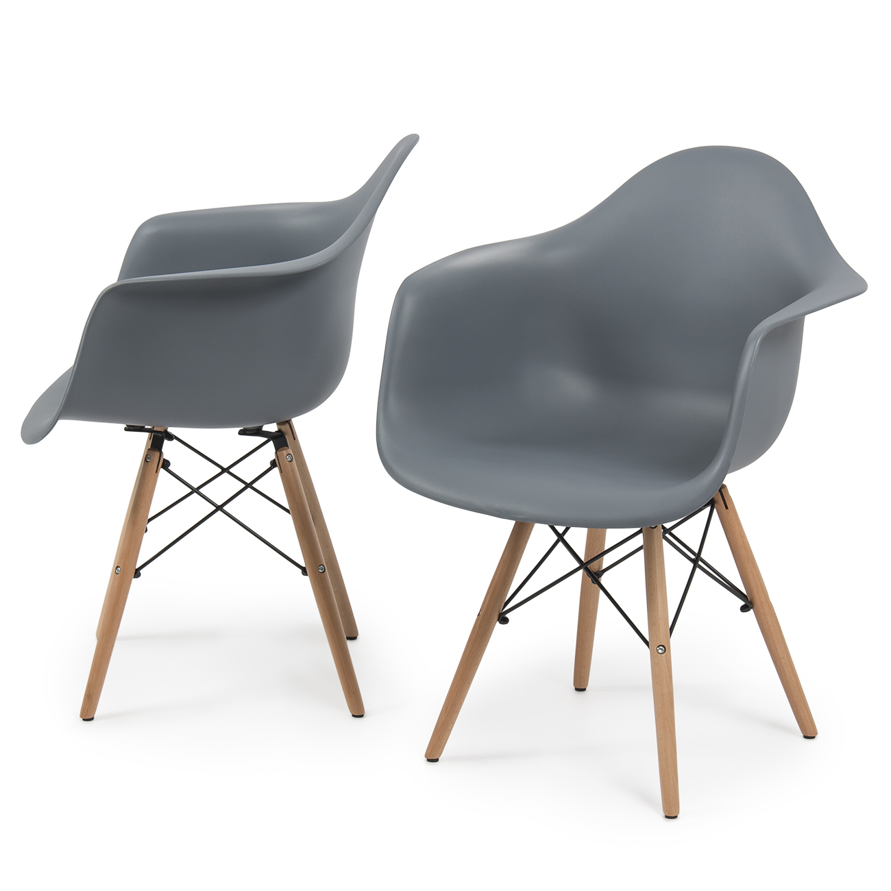 New Set Of 2 Eames Dsw Mid Century Dining Arm Chair