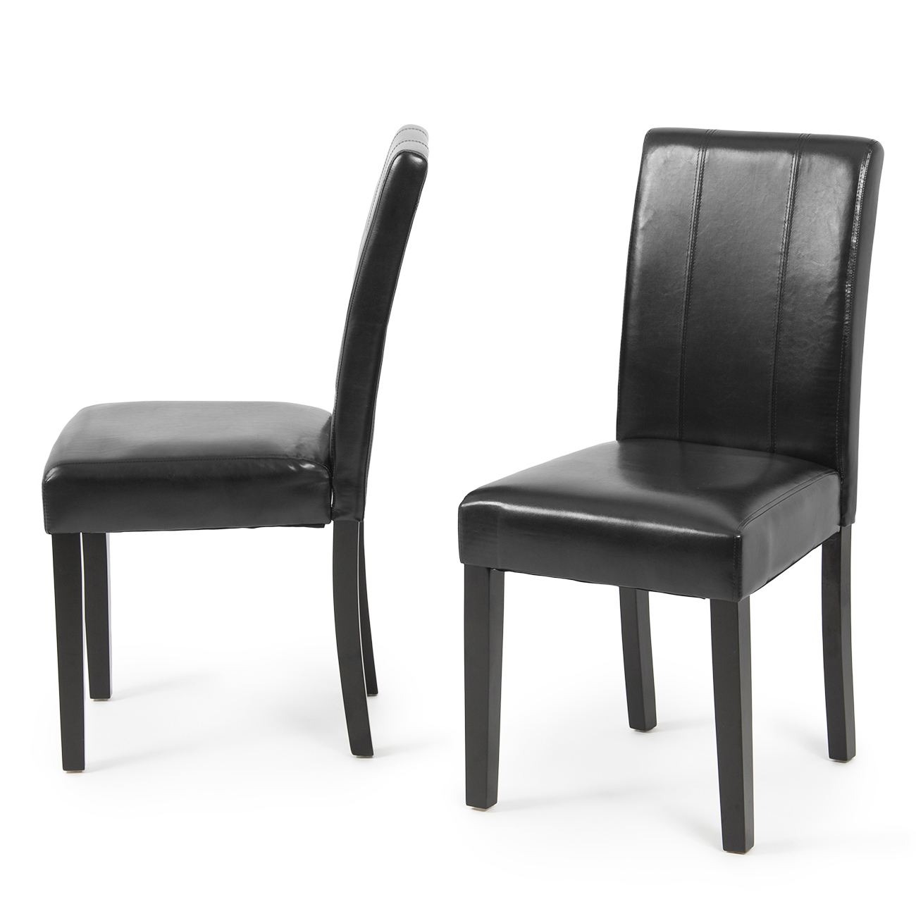 Set of 2 elegant modern design leather parsons dining for Leather parsons dining chairs