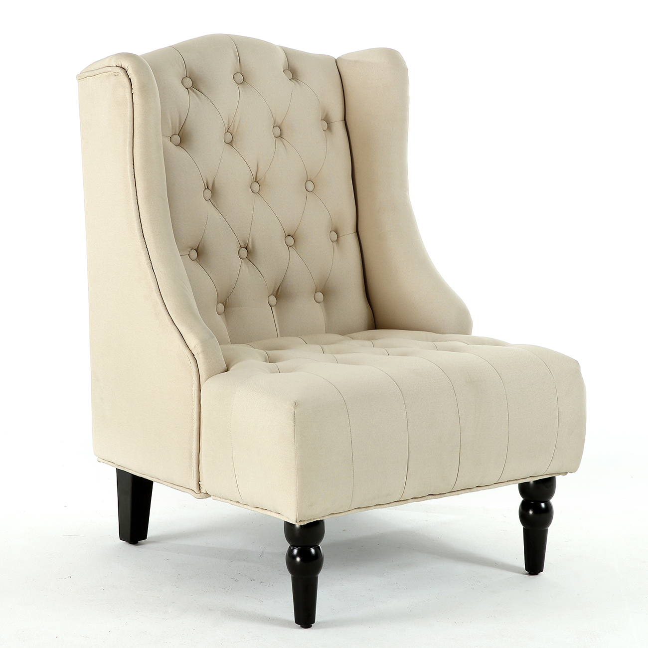 Designer Accent Chairs: NEW Modern Wingback Accent Chair Diamond-Tufted Linen