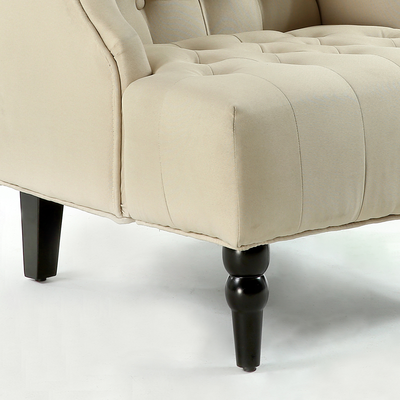 Shop Gymax Wingback Tufted Accent Chair Fabric Nailhead: NEW Modern Wingback Accent Chair Diamond-Tufted Linen