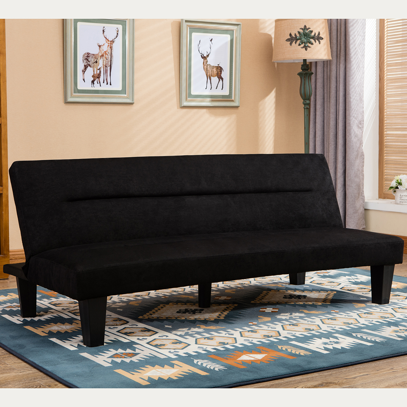 Futon Sofa Bed Furniture Convertible Microfiber Upholstery Couch