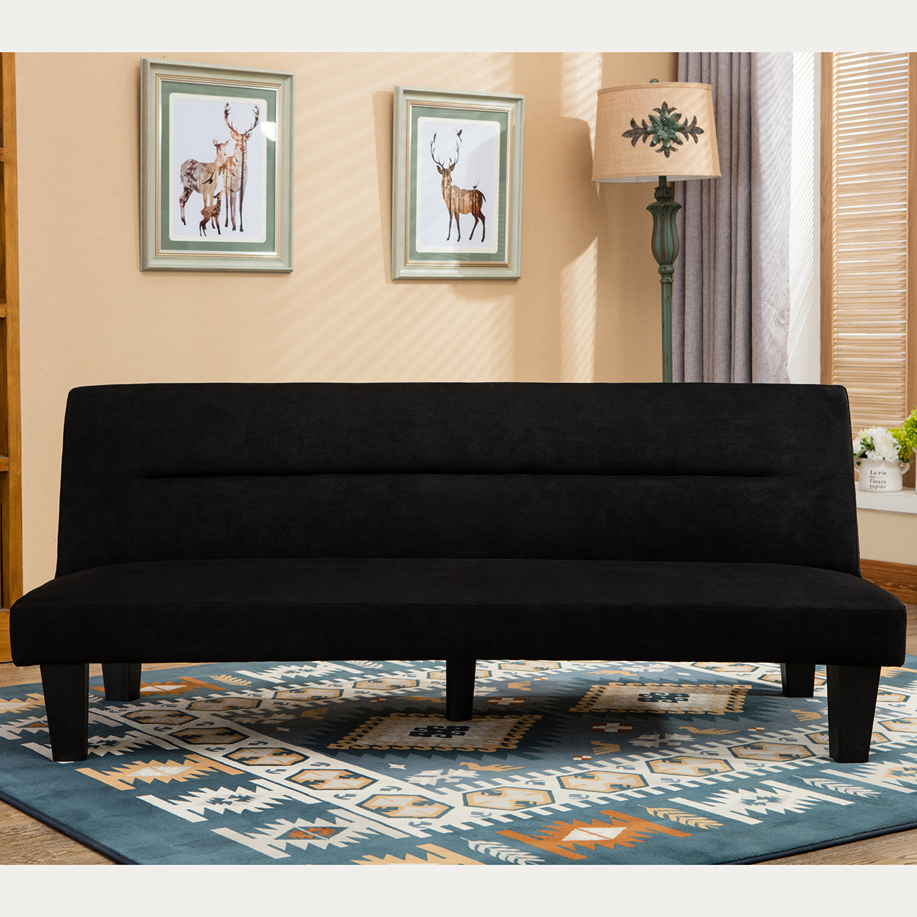 Futon Sofa Sleeper: Futon Sofa Bed Furniture Convertible Microfiber Upholstery