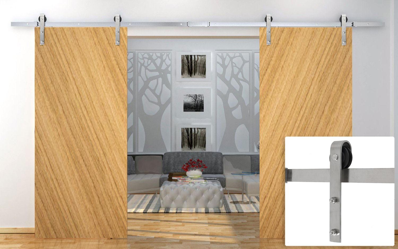 12 Ft Double Sliding Barn Door Hardware Kit Modern Style Rustic