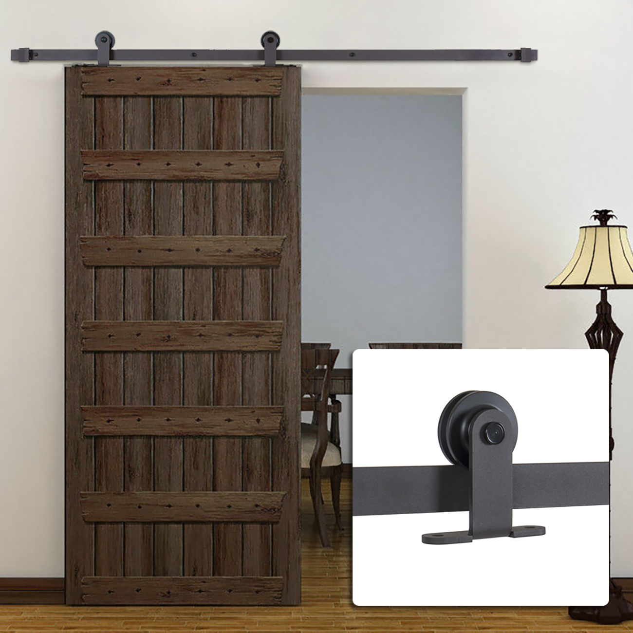 6 FT Modern European Steel Sliding Barn Door Hardware   Black