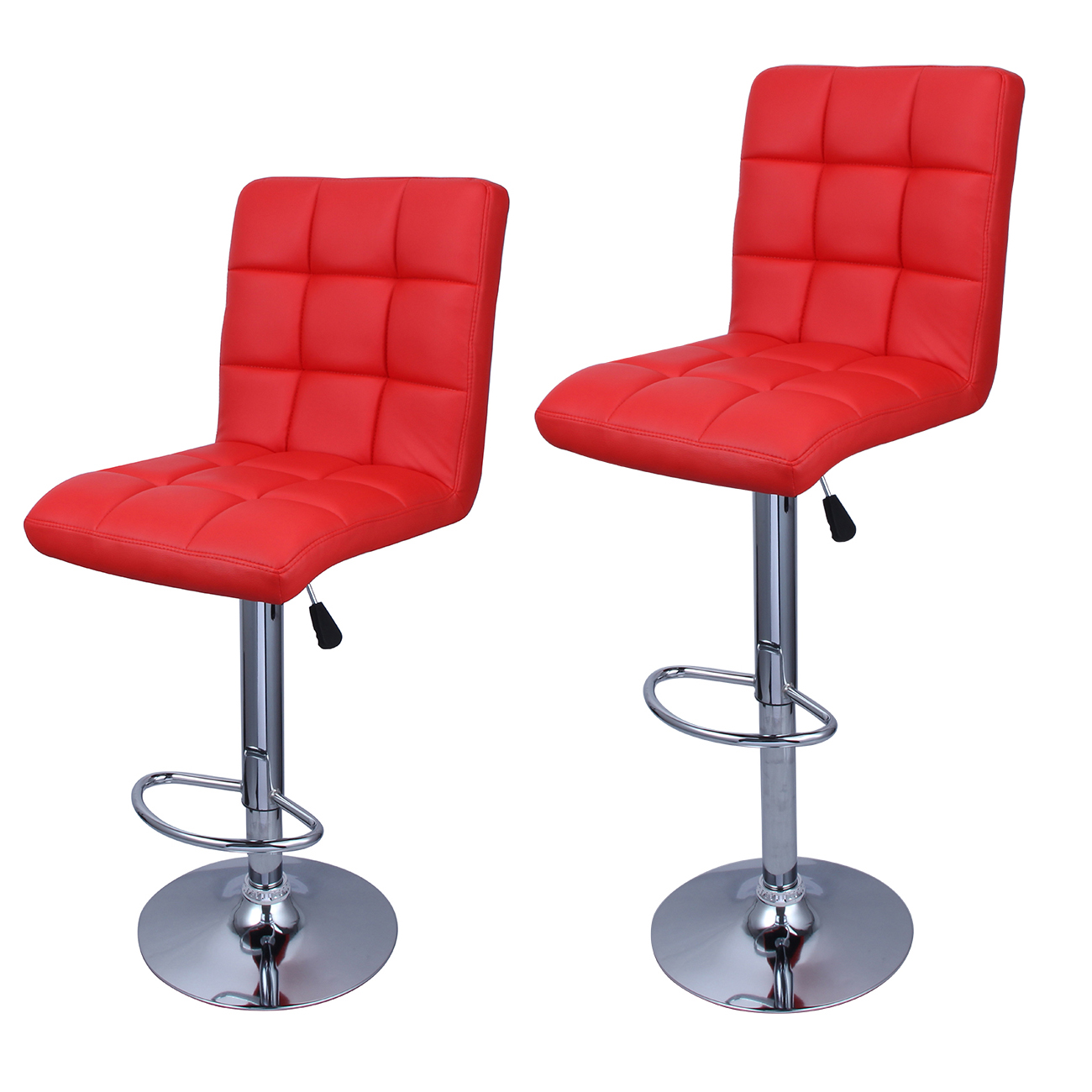 set of 2 modern bar stools leather hydraulic swivel dinning