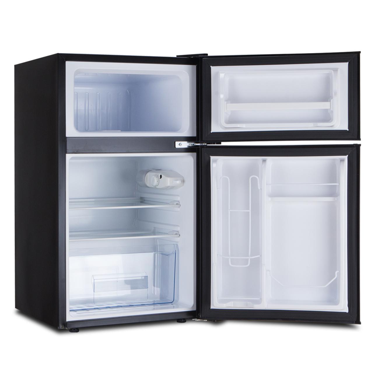 Mini All Food Refrigerator Black 2 Door Full Freezer
