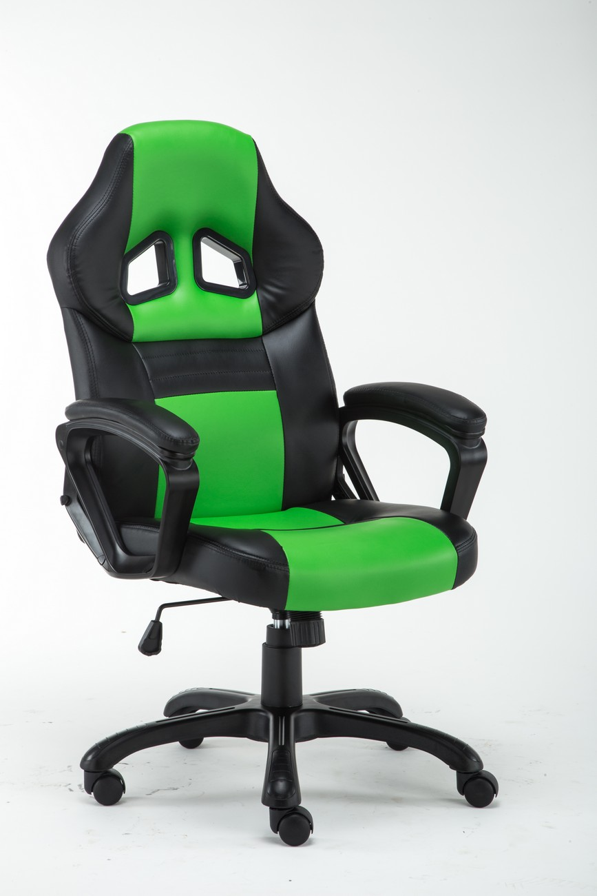 High Back Racing Style Bucket Seat Gaming Chair Swivel Office Desk  Green/Black