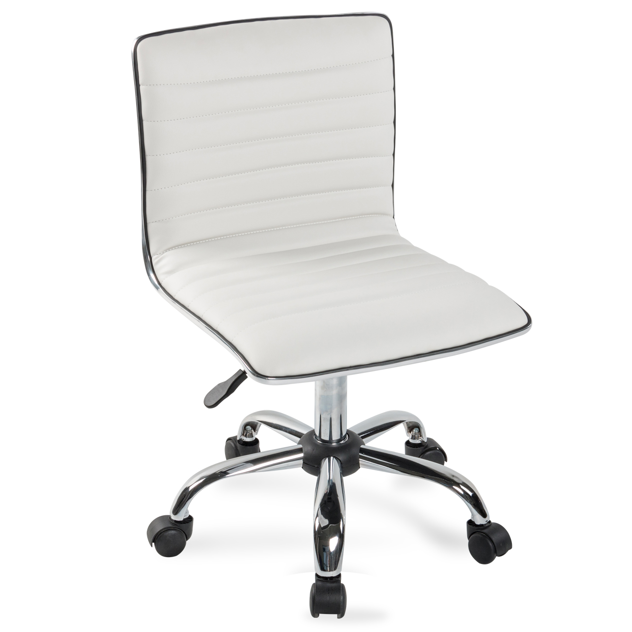 Details About Modern Mid Back Armless Ribbed Office Chair Leather Task Desk Black White