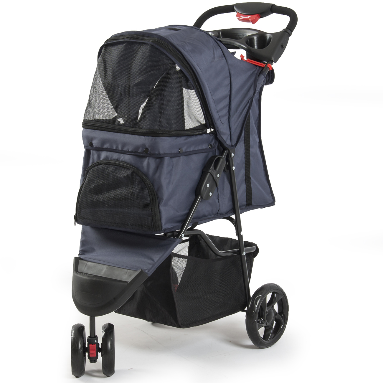 3 Wheel Pet Stroller Dog Easy Portable Fold Able Carrier W