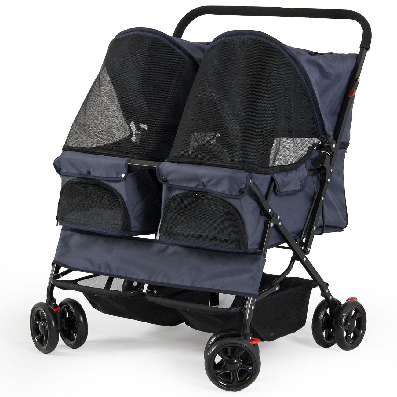 Twin Pet Stroller Easy Folding Carrier, Side-by-Side ...