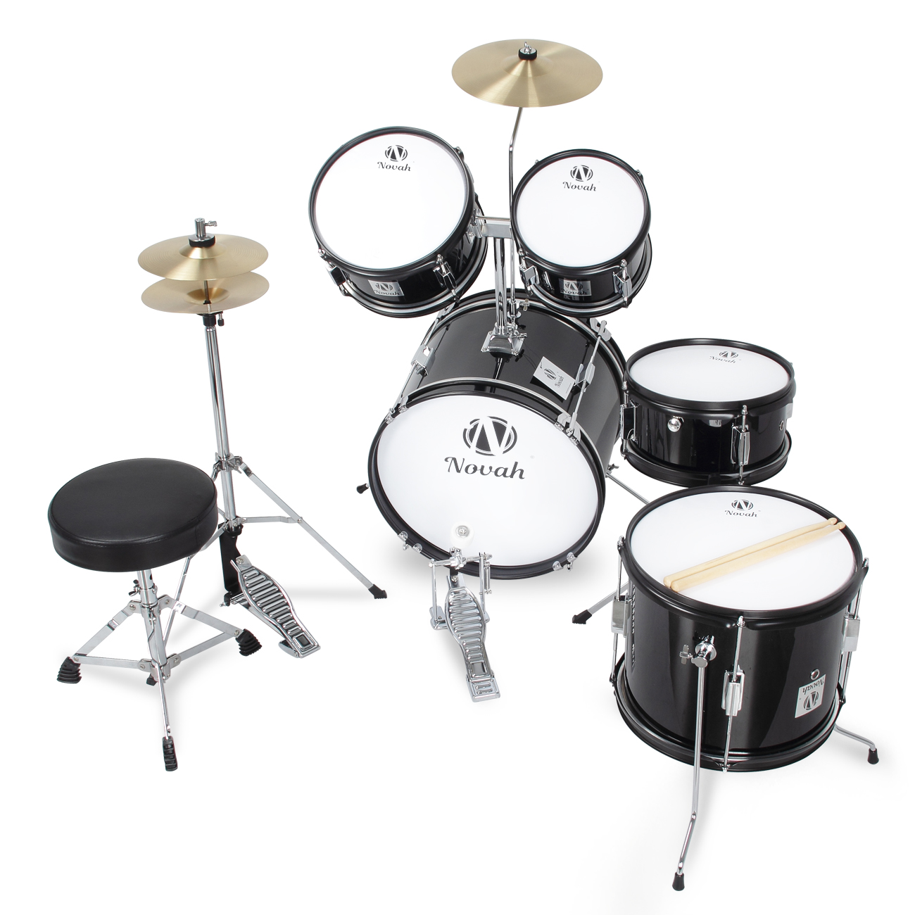 drum set 5 piece complete junior set cymbals full size w stool blue black ebay. Black Bedroom Furniture Sets. Home Design Ideas