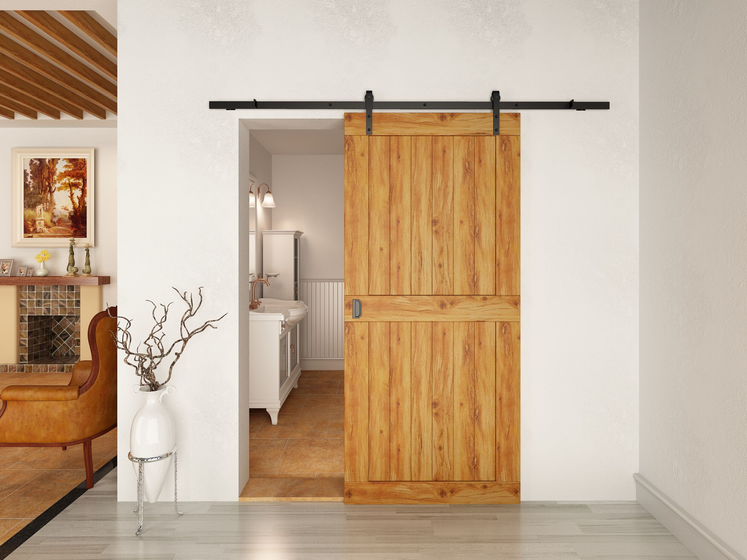 6 6 Quot Classic Rustic Black Coffee Sliding Barn Wood Door