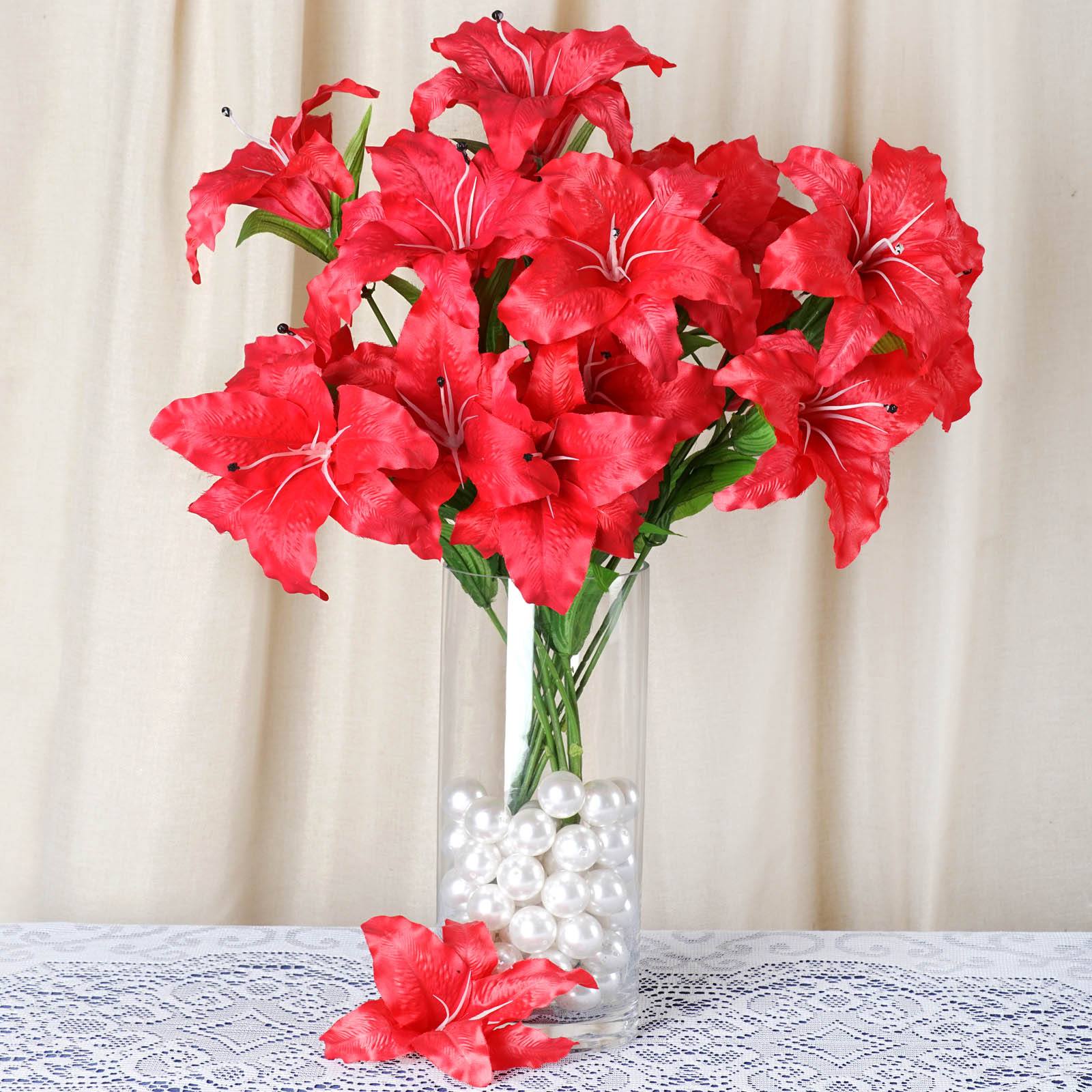 54 Pcs Extra Large Lilies Wedding Silk Artificial Lily Flowers For
