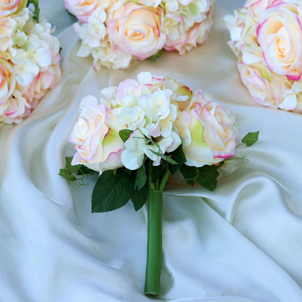 Silk Roses And Hydrangea Flowers Bouquets Wedding Centerpieces
