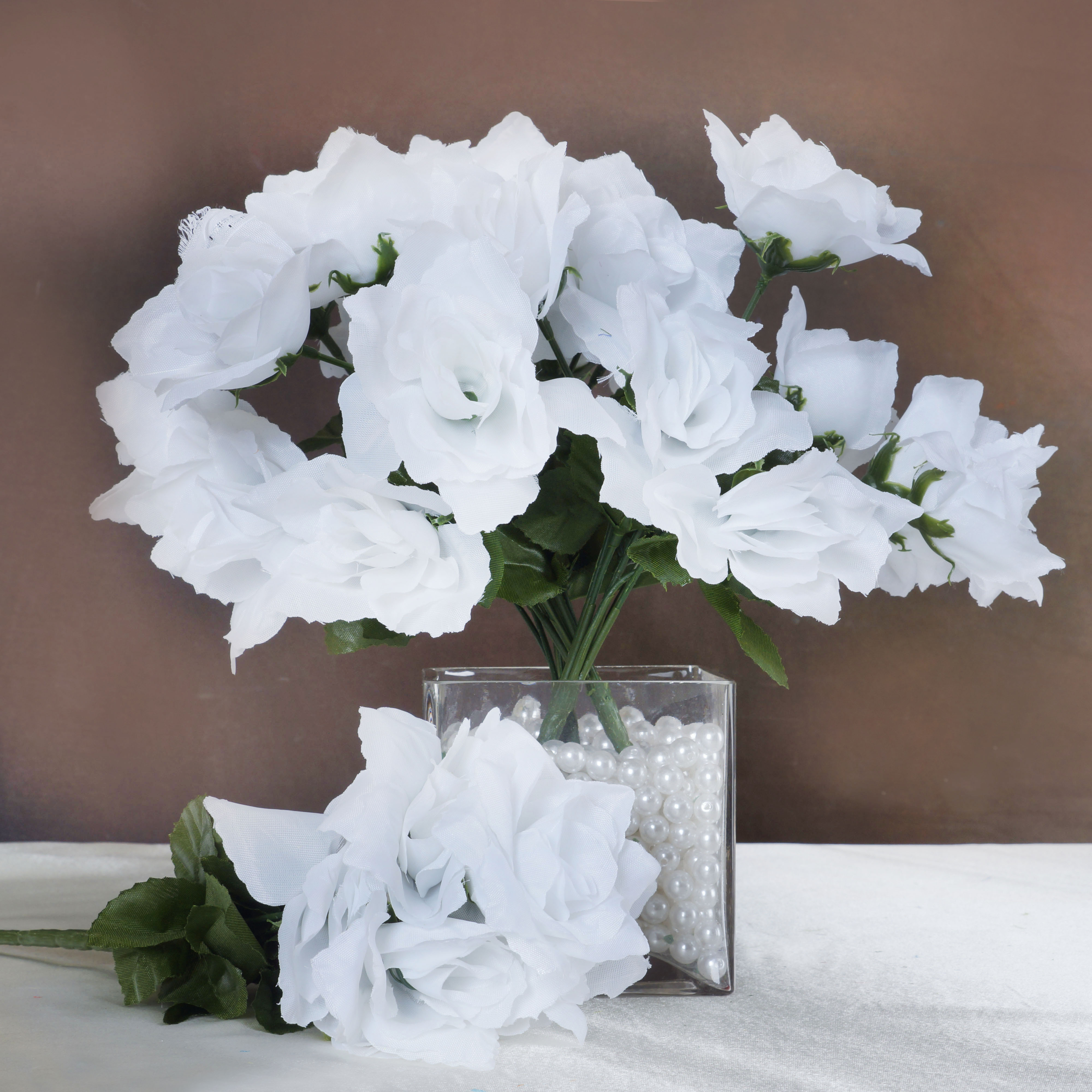 252 Open Roses Wedding Wholesale Discount Silk Flowers Bouquets For