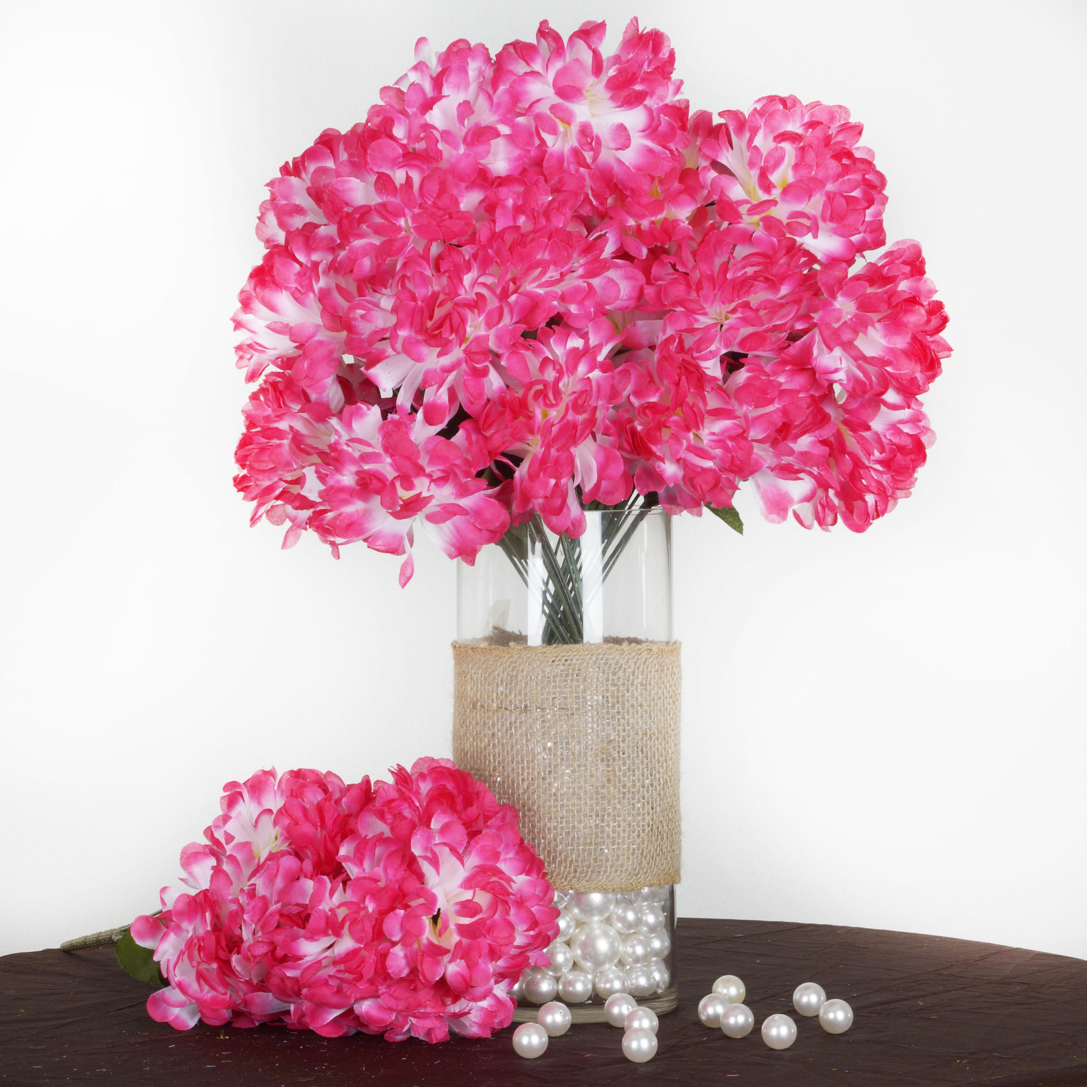 4 bushes - 56 LARGE Chrysanthemum MUMS BALLS Silk Wedding Flowers ...