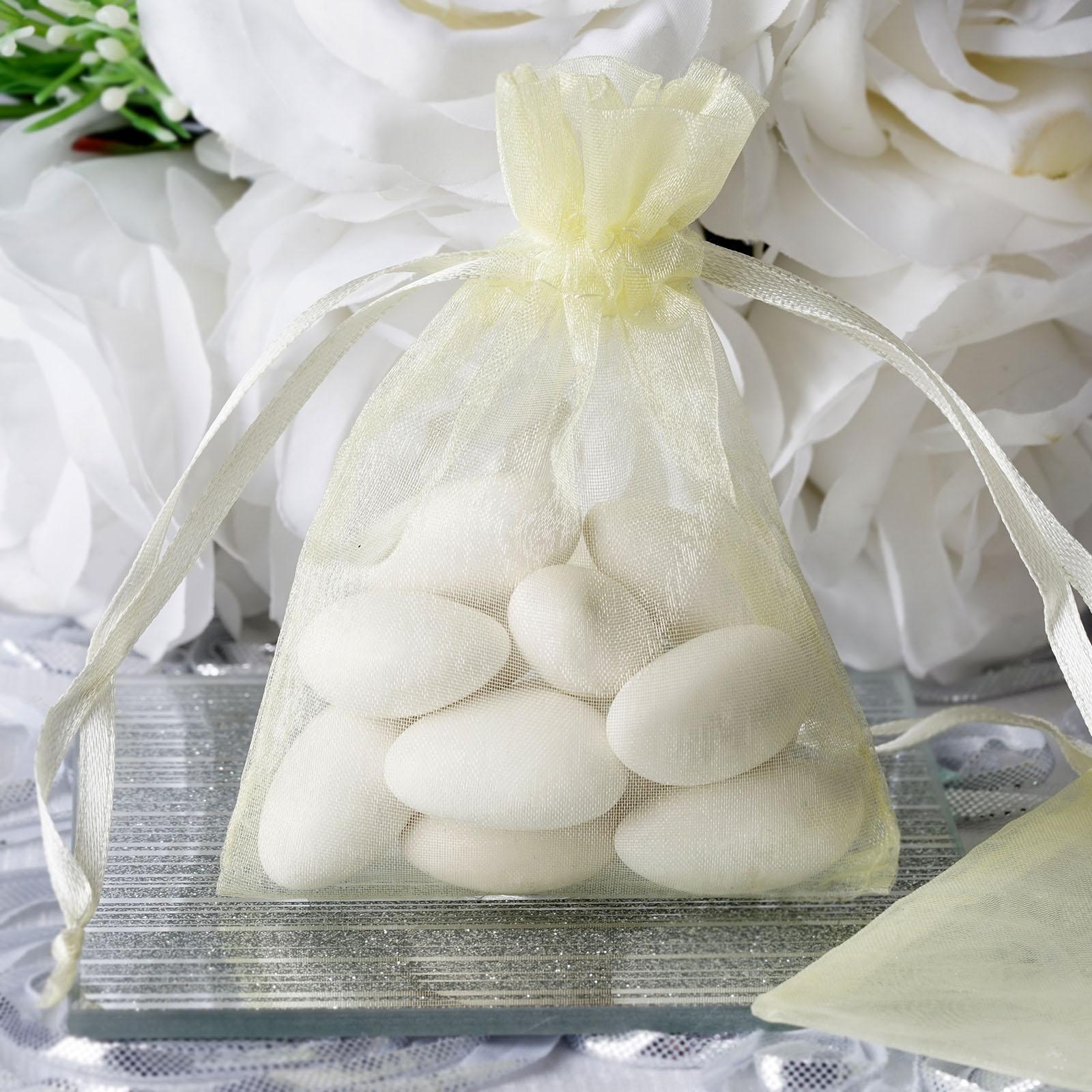 100 pcs 3x4 inch ORGANZA BAGS - Wedding FAVORS Drawstring Gift Pouch ...