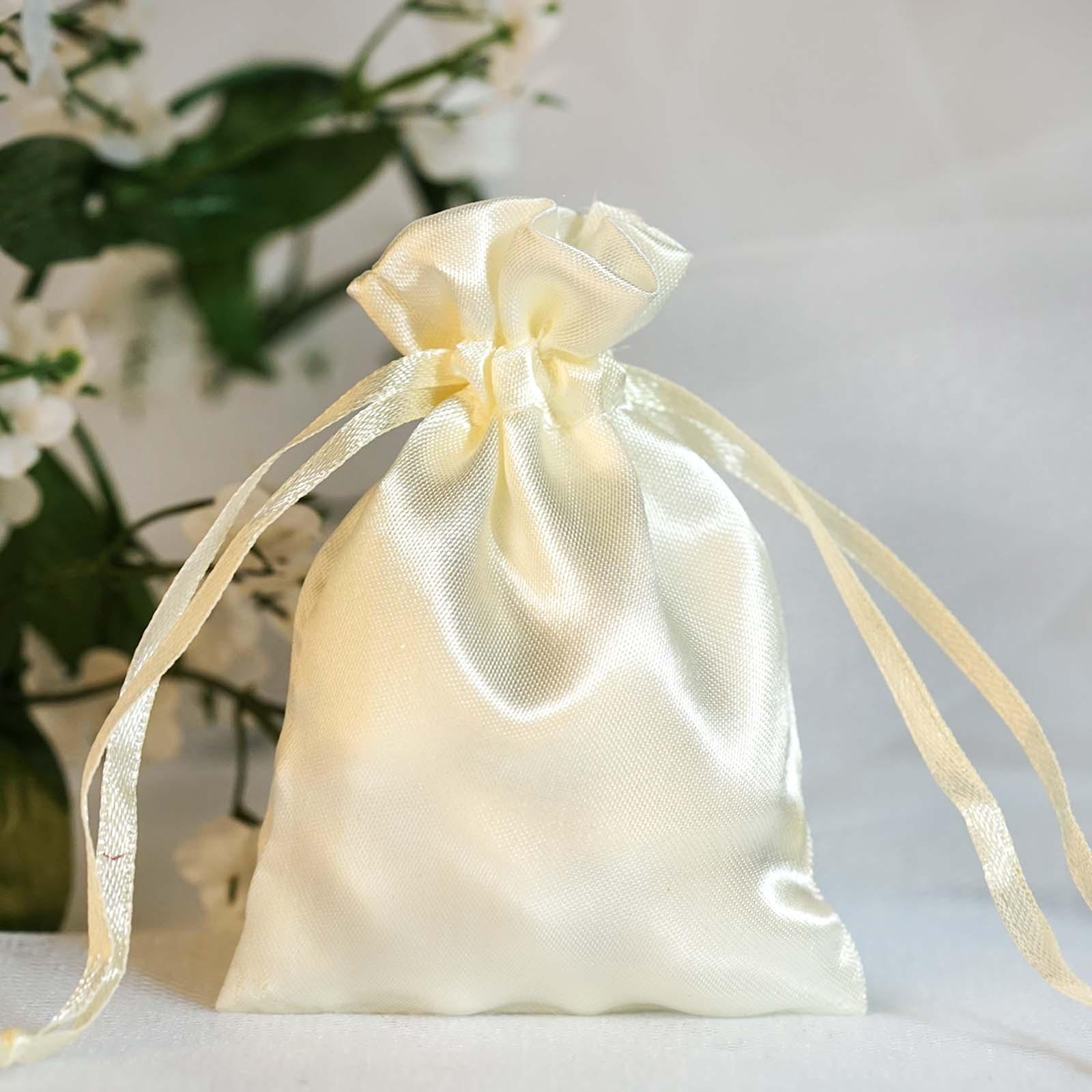 60 pcs 3x3 5 inch satin drawstring favor bags wedding gift pouches