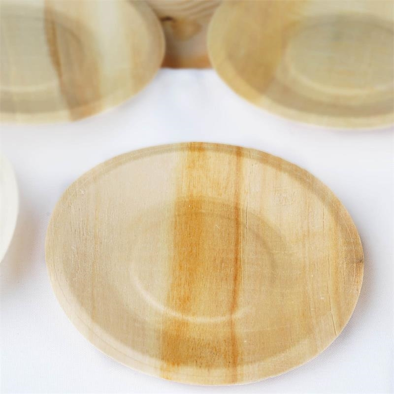 5.5\  Round Natural Birch Wooden Plates Upscale Eco Friendly and Disposable! & NATURAL BIRCH WOODEN 5.5\