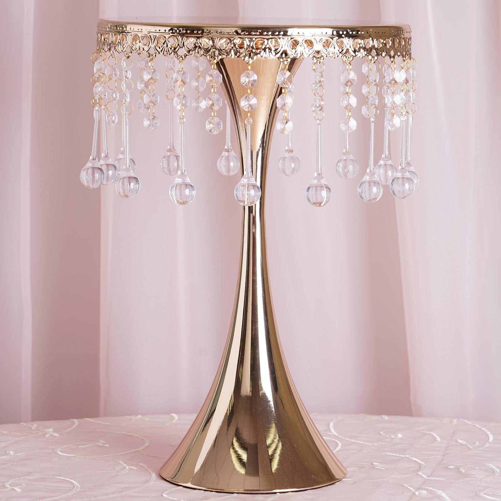 """17"""" tall Pedestal Cake Stand with Acrylic Crystal Chains ..."""