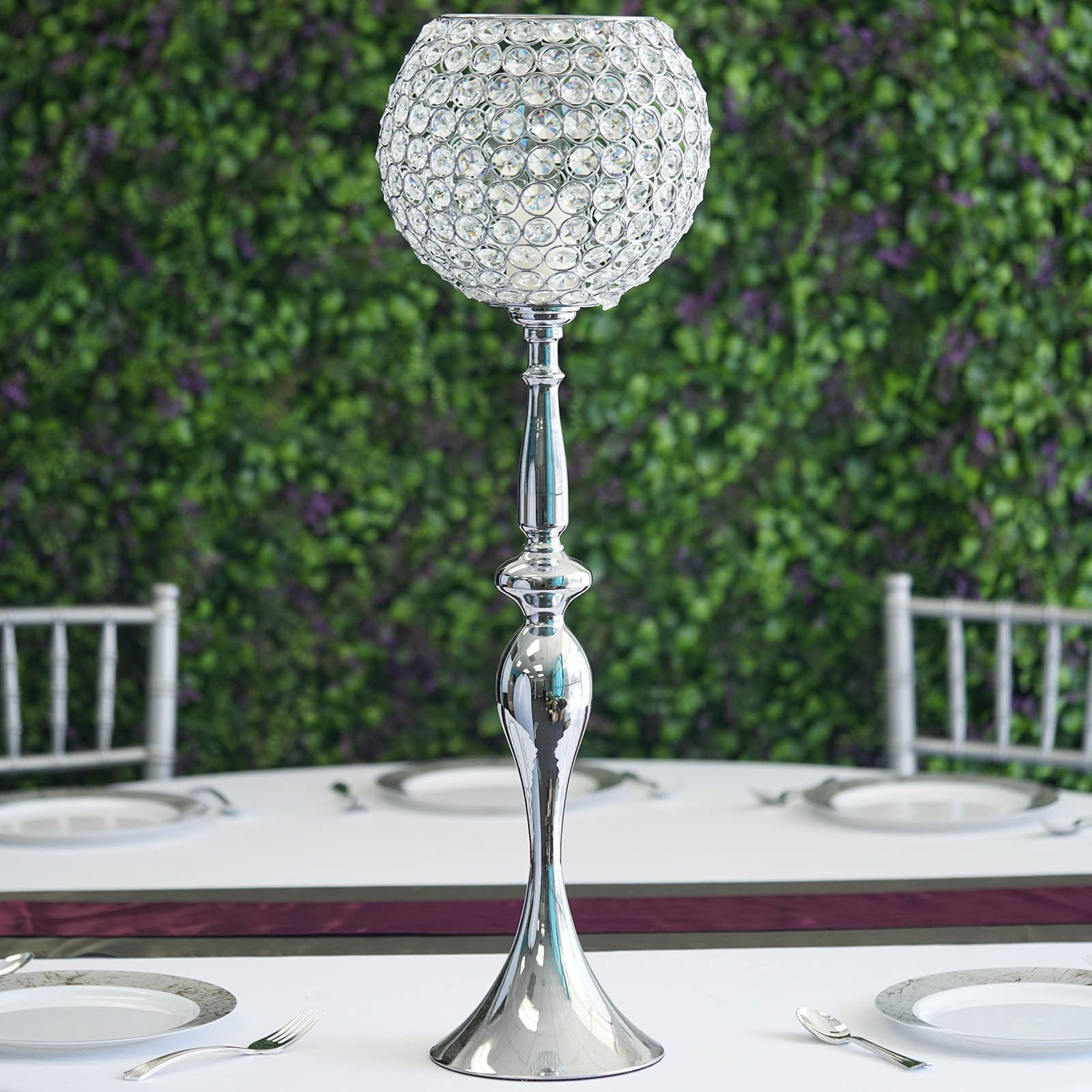 30 Tall Metallic Crystal Beaded Goblet Candle Holder Wedding