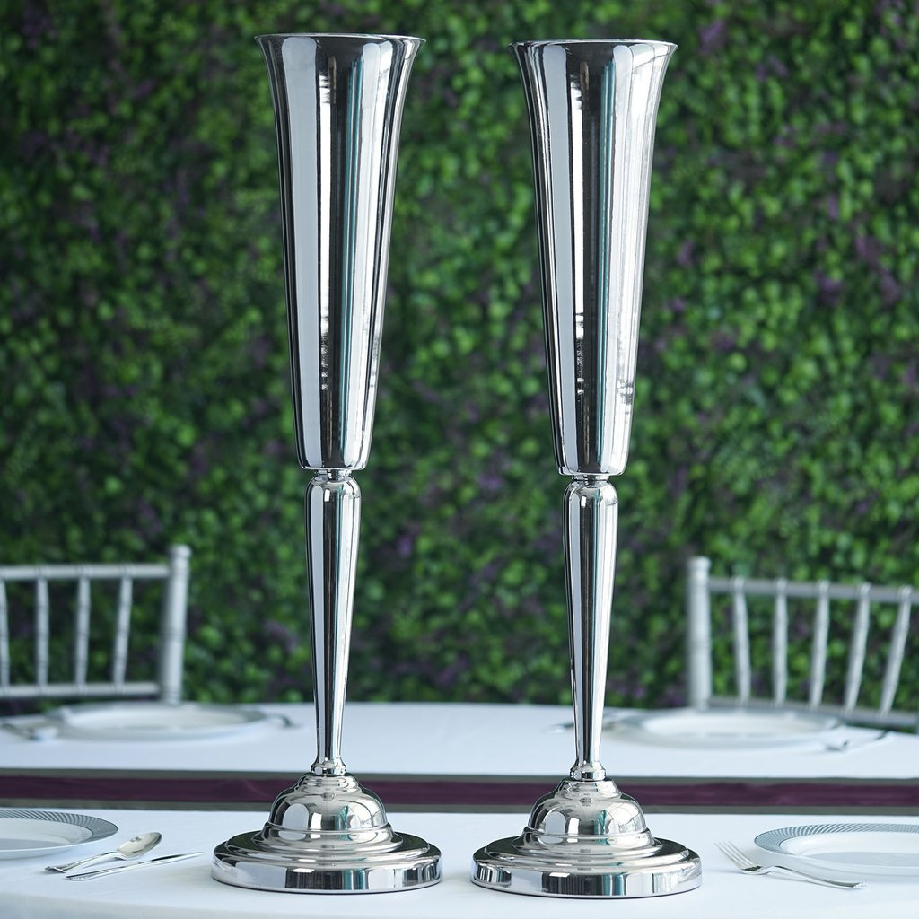 """Wedding Vases For Sale: 2 Pcs 29"""" Tall Metallic Trumpet Vases Candle Holders"""