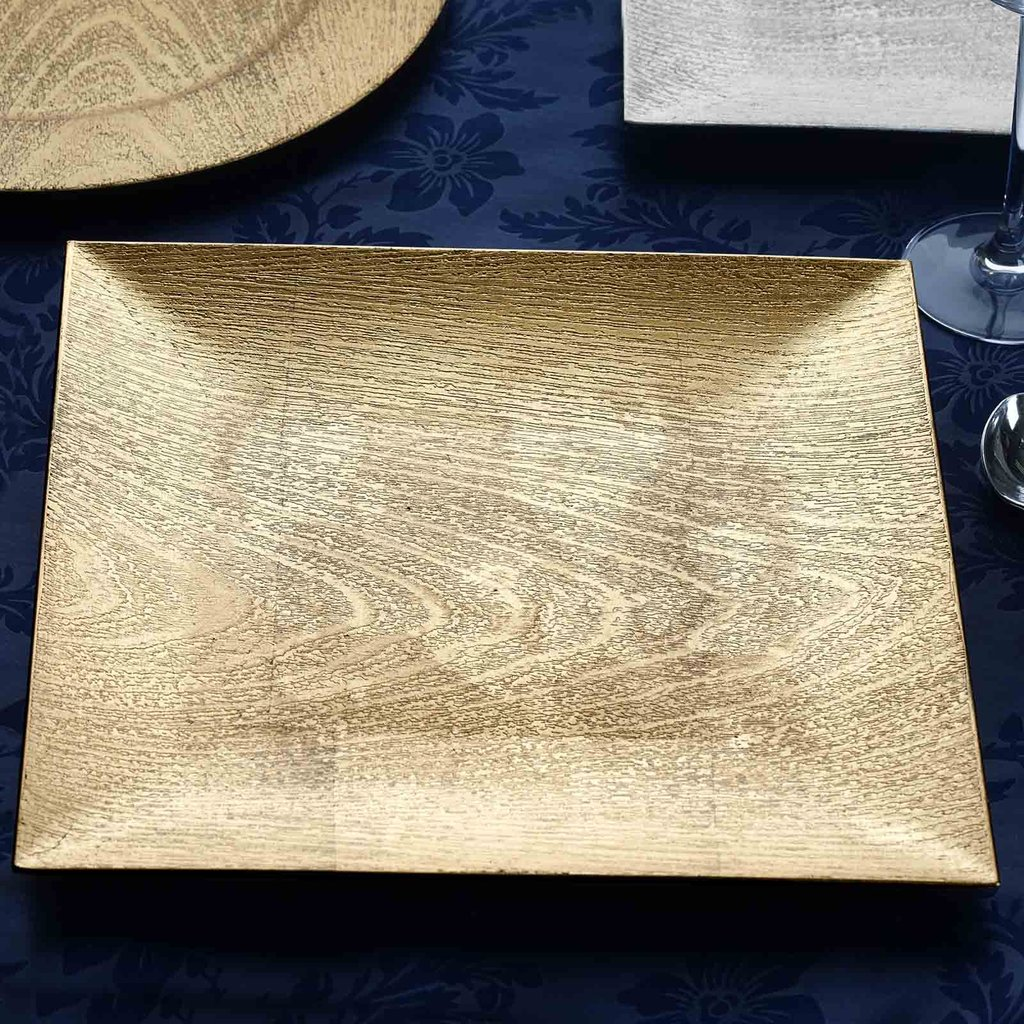 Square Charger Plates 12 Wood Design Wedding Party Dinner