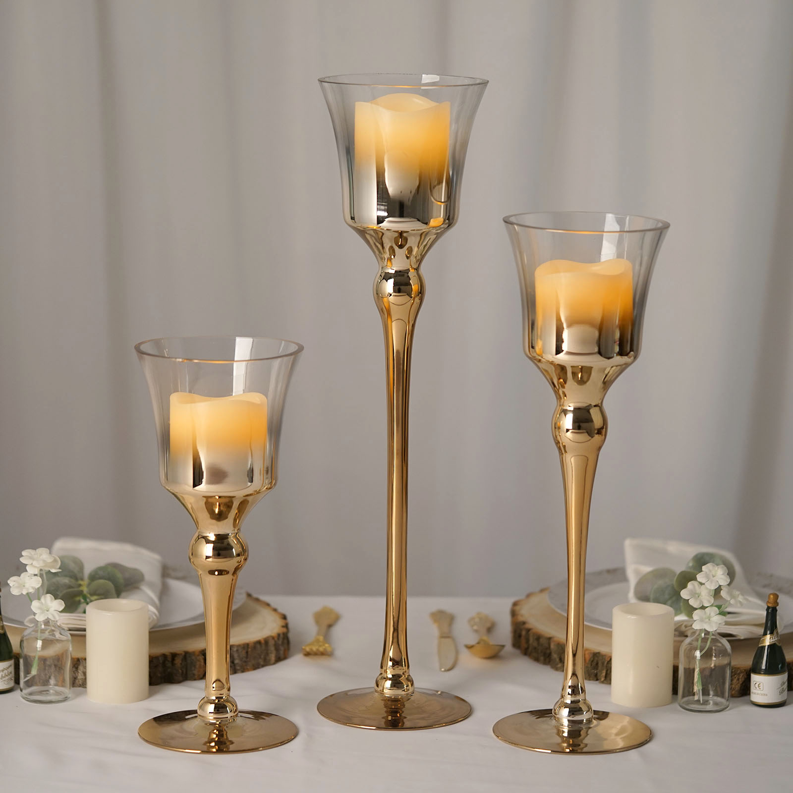 3 Ombre Wine Glass Pillar Candle Holders Home Gift Wedding Centerpieces Sale Ebay
