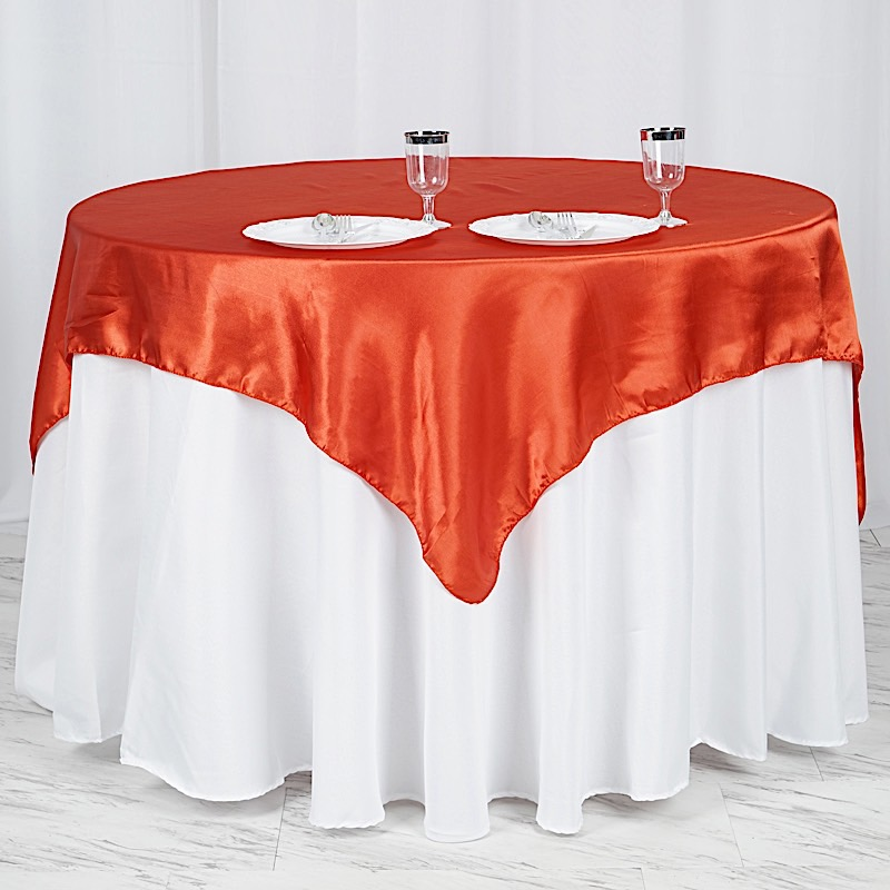 """60"""" Squre SATIN TABLE OVERLAYS Wedding Catering Event"""
