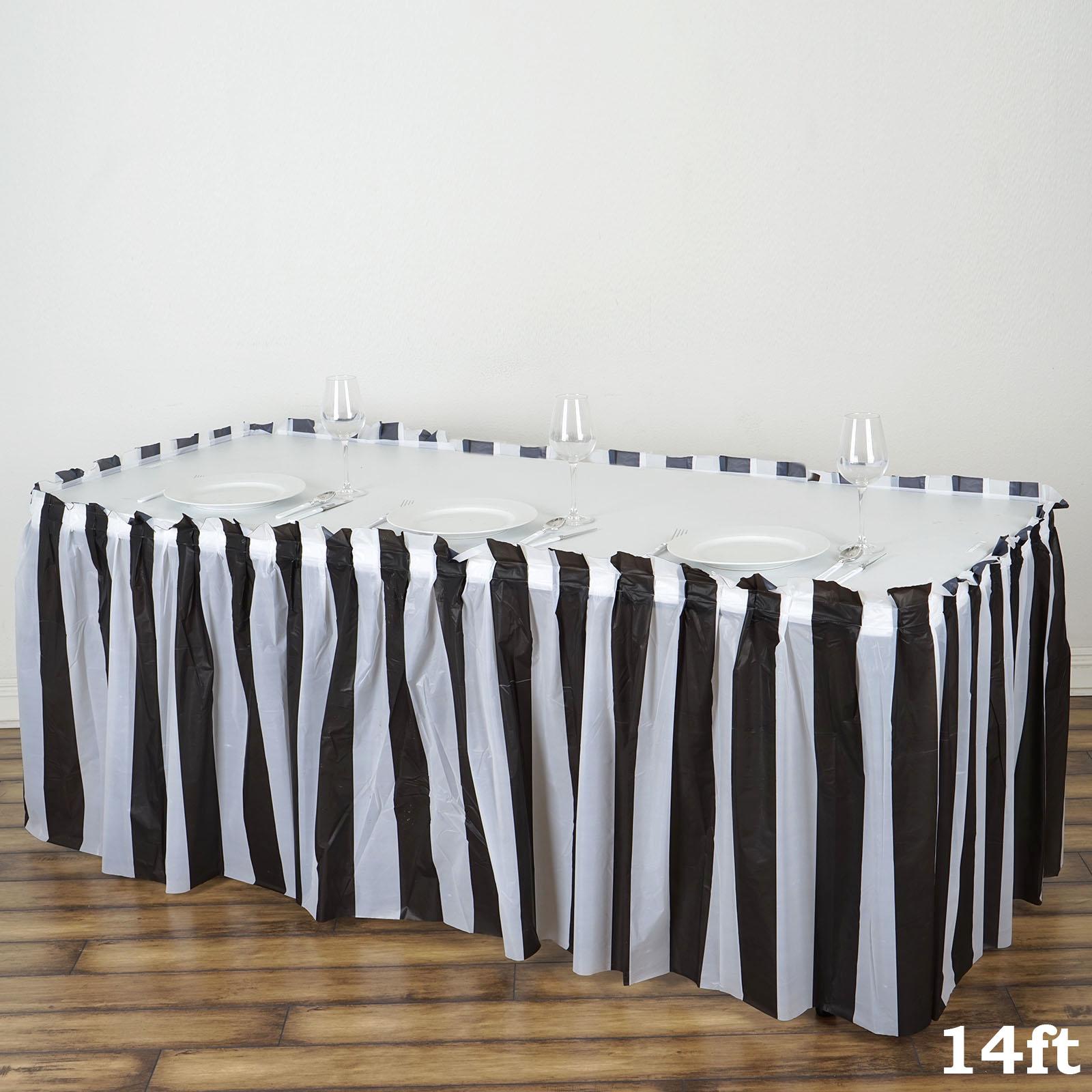 Stripes-Plastic-TABLE-SKIRT-14-feet-x-29-034-Wedding-Party-Dinner-Decorations-SALE thumbnail 3