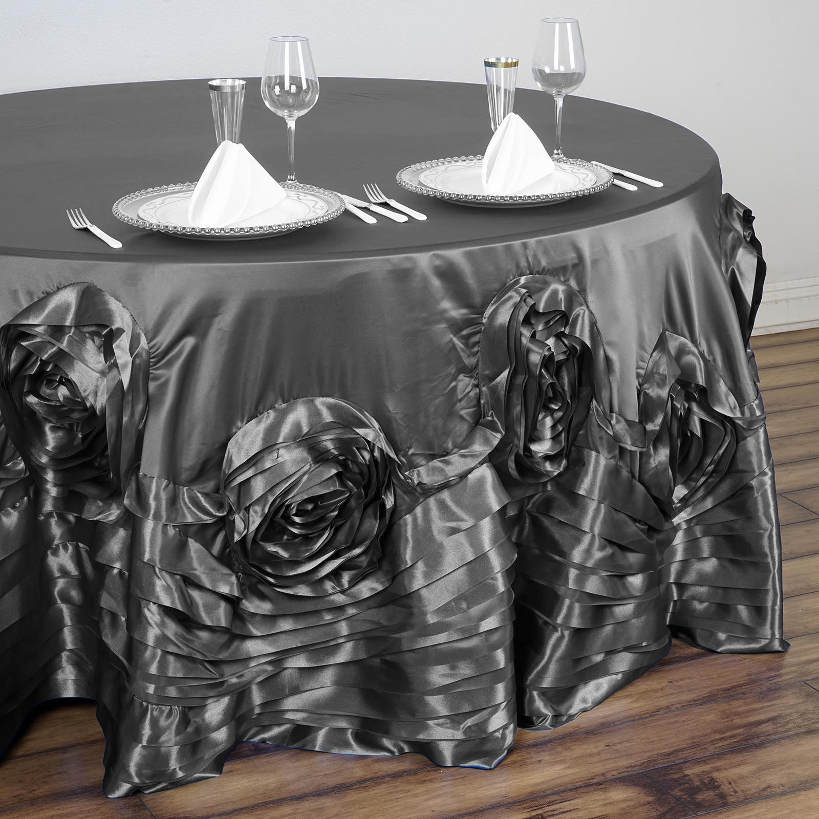 120-034-Large-Raised-Roses-Lamour-Satin-Round-Tablecloth-Decoration-Wedding-Dinner thumbnail 7