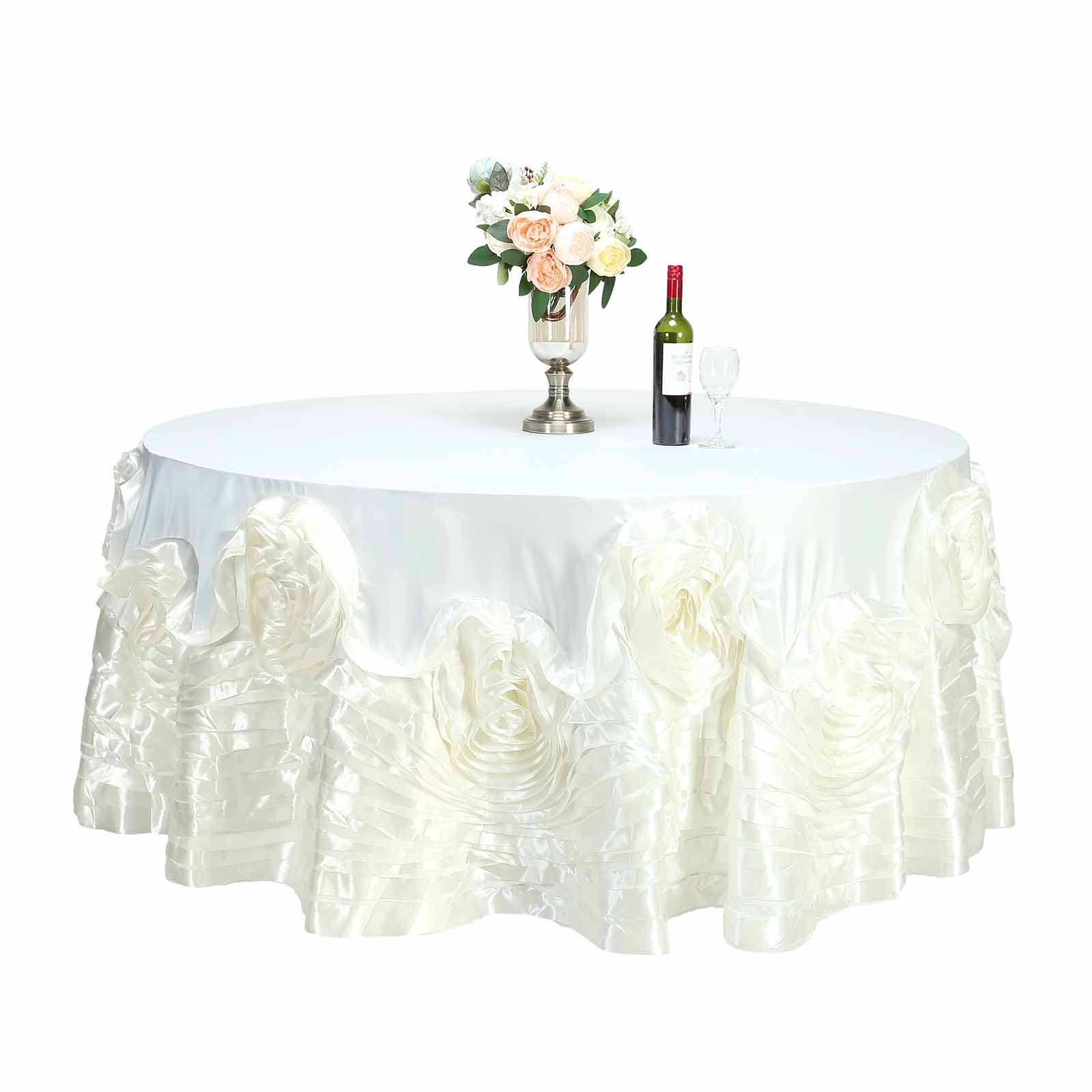 120-034-Large-Raised-Roses-Lamour-Satin-Round-Tablecloth-Decoration-Wedding-Dinner thumbnail 10
