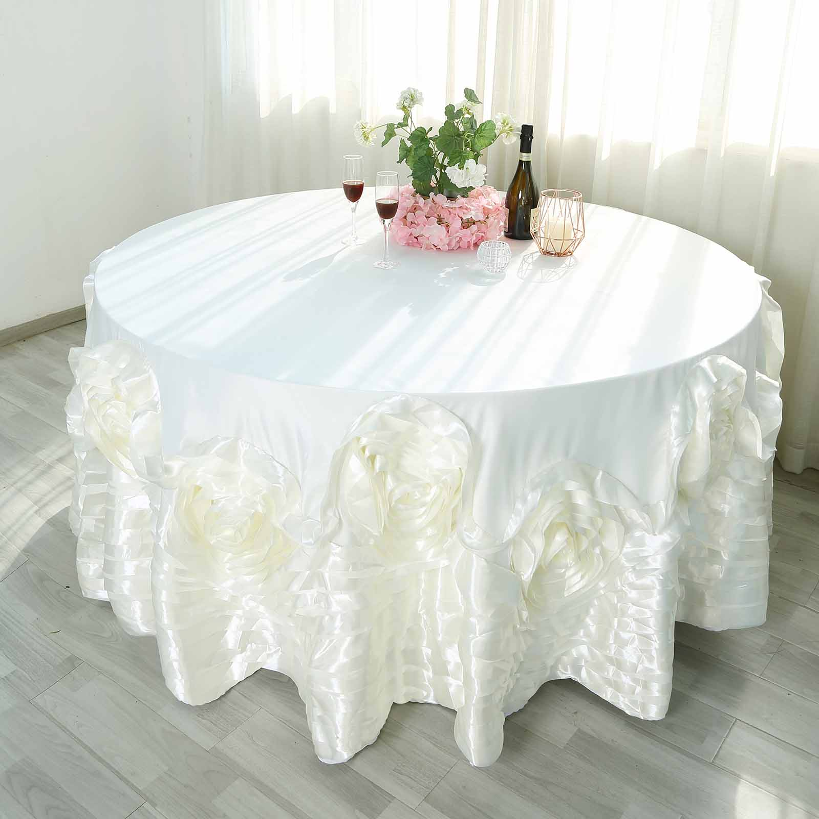 120-034-Large-Raised-Roses-Lamour-Satin-Round-Tablecloth-Decoration-Wedding-Dinner thumbnail 9