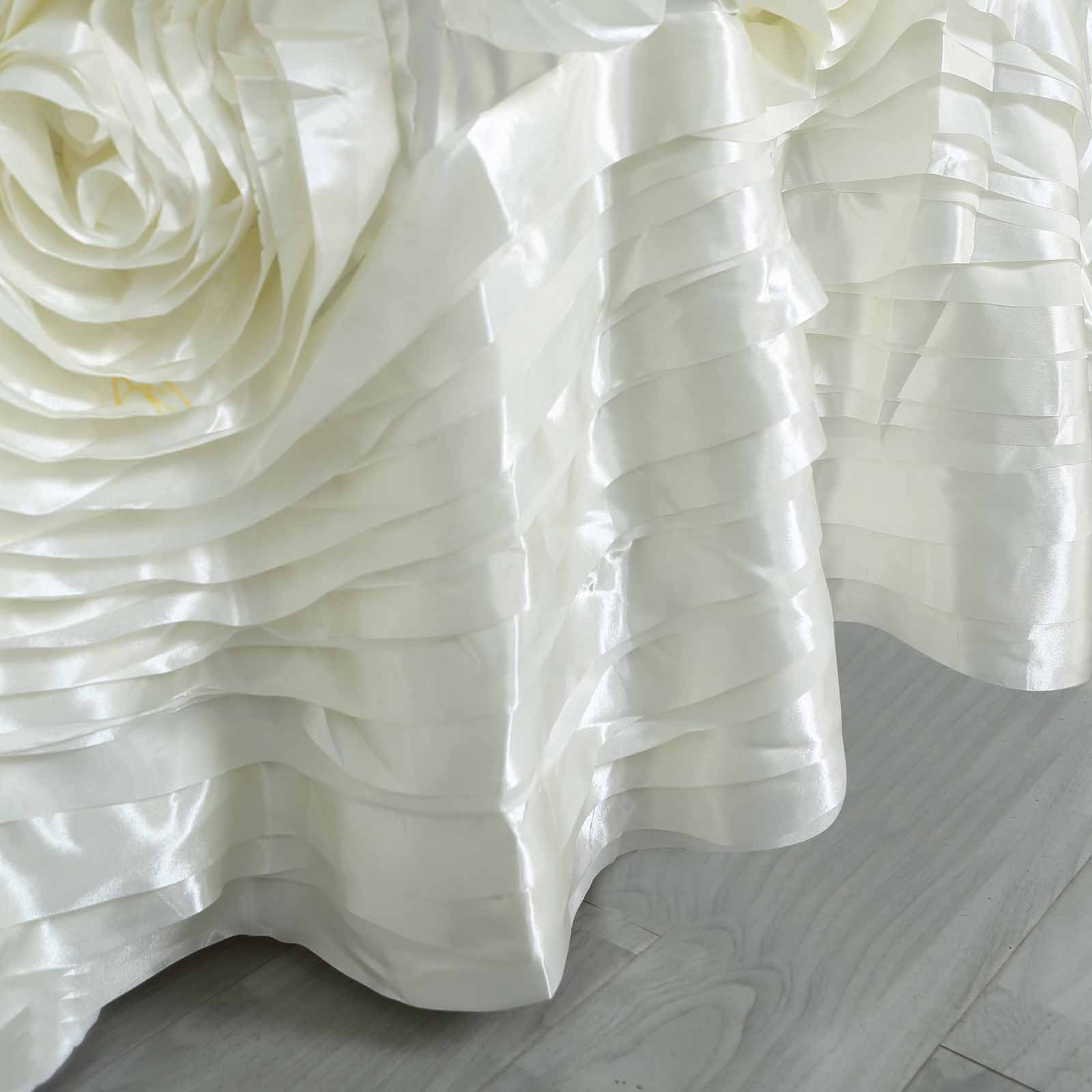 120-034-Large-Raised-Roses-Lamour-Satin-Round-Tablecloth-Decoration-Wedding-Dinner thumbnail 11
