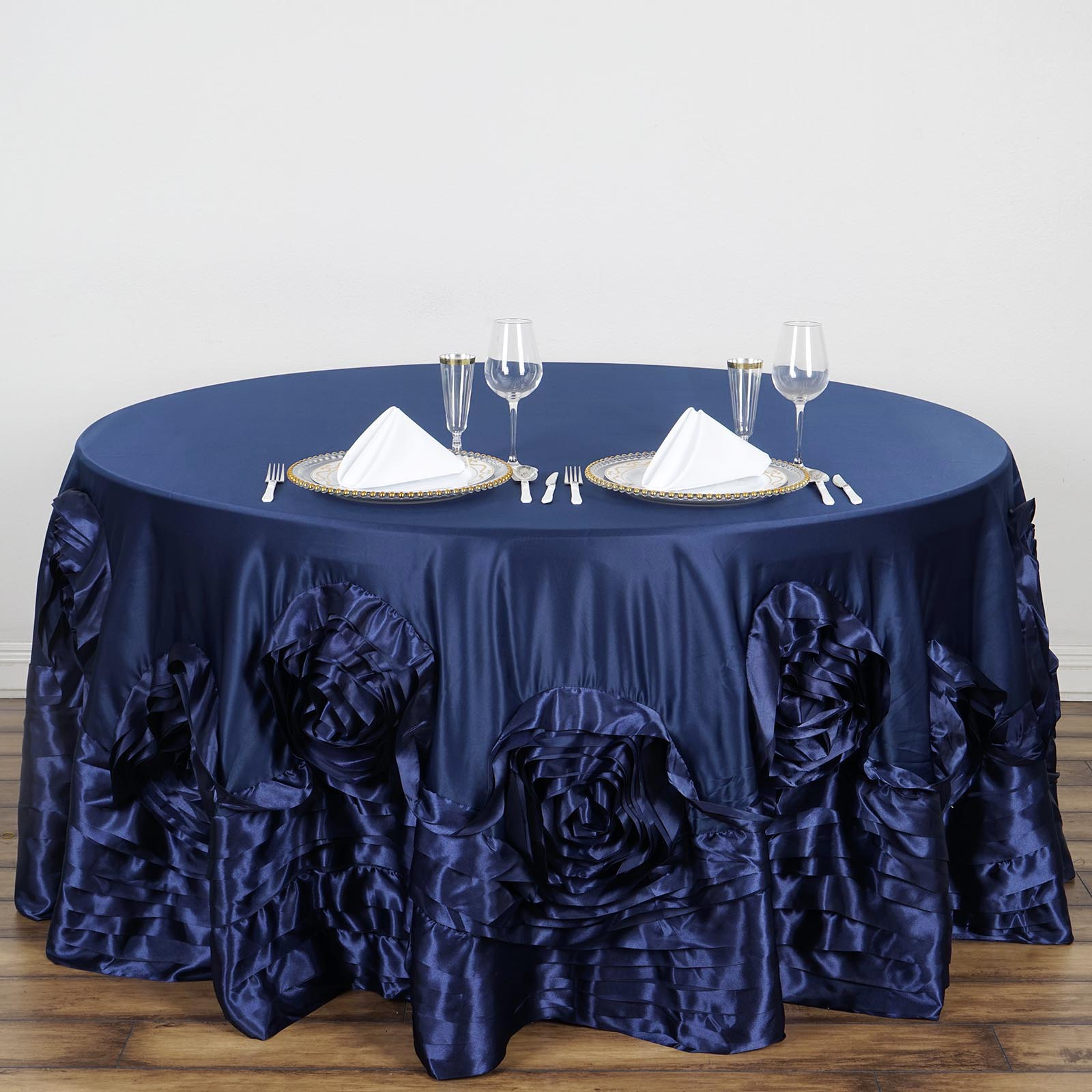 120-034-Large-Raised-Roses-Lamour-Satin-Round-Tablecloth-Decoration-Wedding-Dinner thumbnail 13