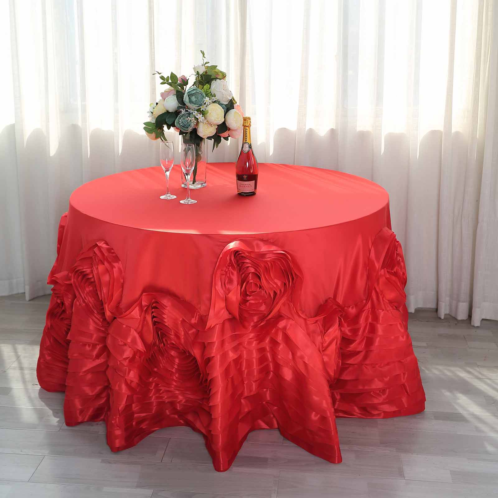120-034-Large-Raised-Roses-Lamour-Satin-Round-Tablecloth-Decoration-Wedding-Dinner thumbnail 15
