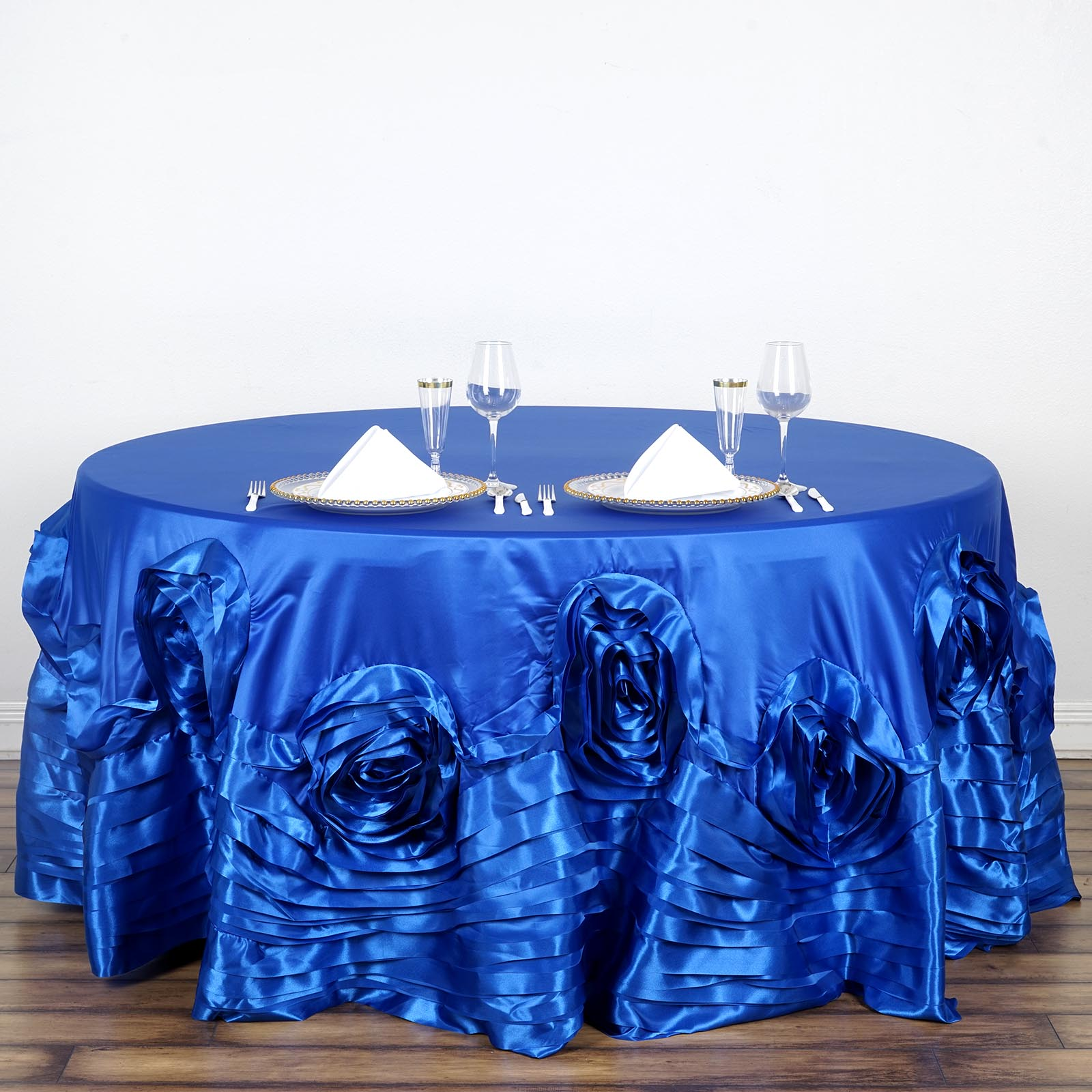 120-034-Large-Raised-Roses-Lamour-Satin-Round-Tablecloth-Decoration-Wedding-Dinner thumbnail 19