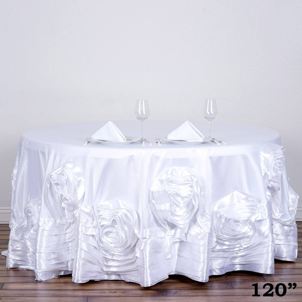 120-034-Large-Raised-Roses-Lamour-Satin-Round-Tablecloth-Decoration-Wedding-Dinner thumbnail 23
