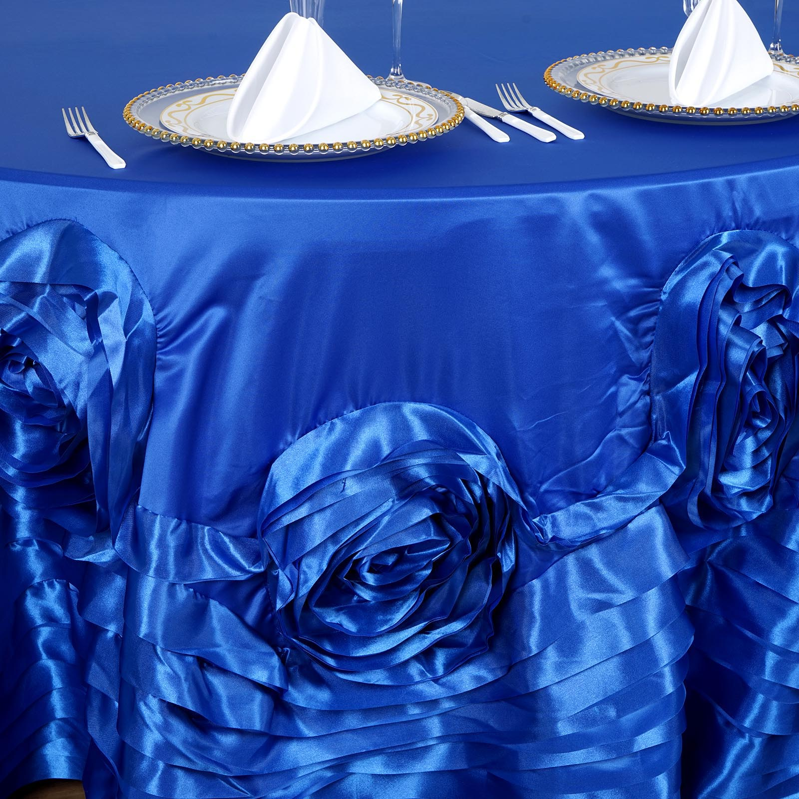 120-034-Large-Raised-Roses-Lamour-Satin-Round-Tablecloth-Decoration-Wedding-Dinner thumbnail 20