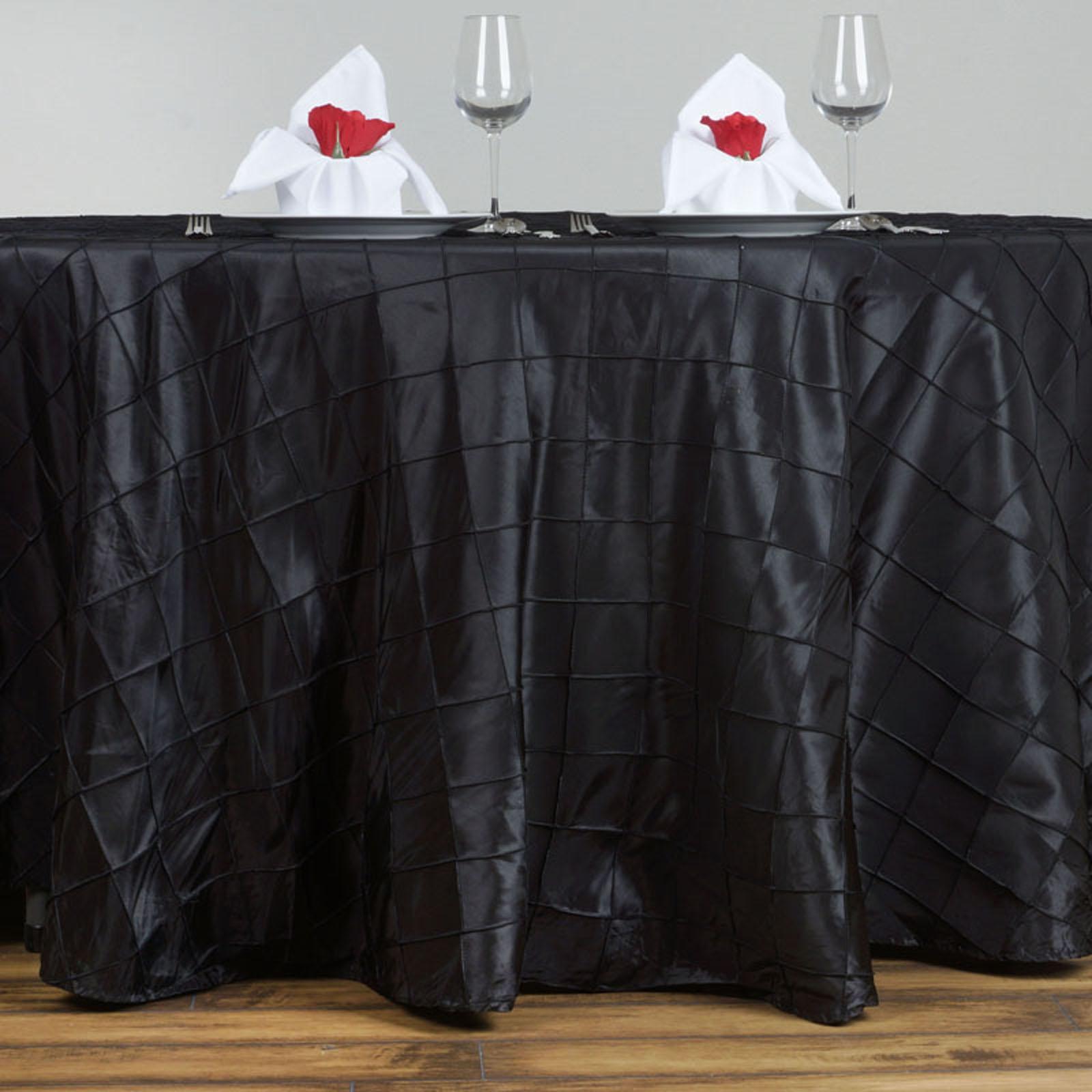 Superb ROUND Pintuck Taffeta Fancy Tablecloth Dinner Wedding Party