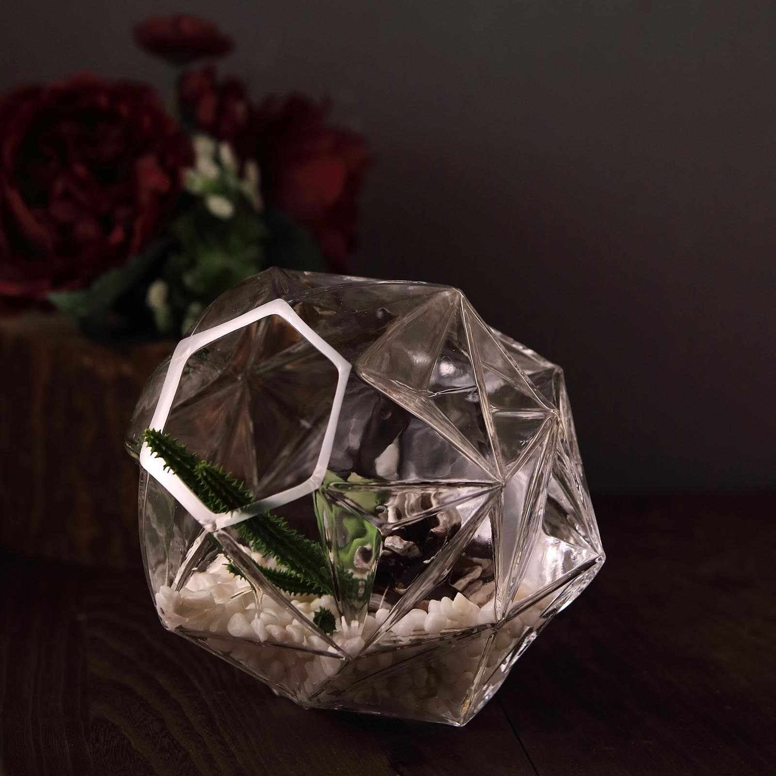 2 Pcs 7 Inch Tall Clear Glass Honeycomb Geometric Terrarium Centerpiece Vases Ebay