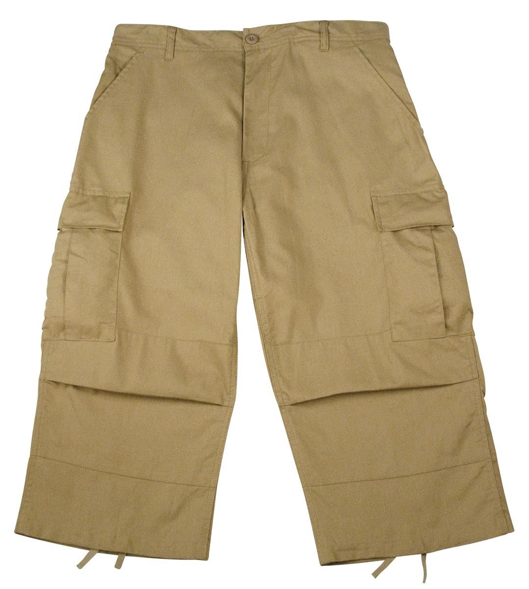 Mens Khaki Cropped Capri Pants w/Cargo Pockets | eBay