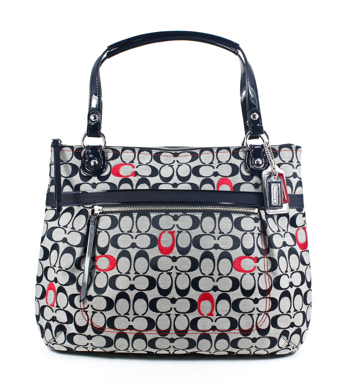 Coach Pop Embroidered Signature C Glam Black White Red ...