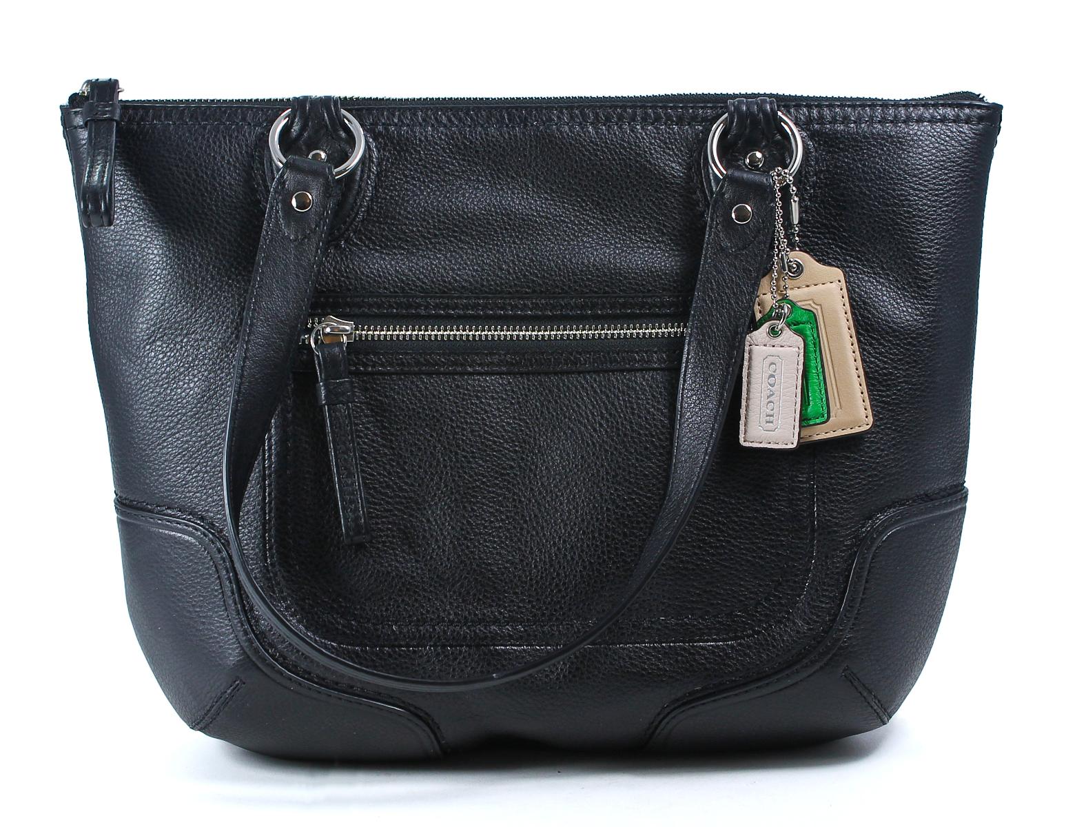 Coach Leather Black 2 Poppy Small Tote Shoulder Handbag ...