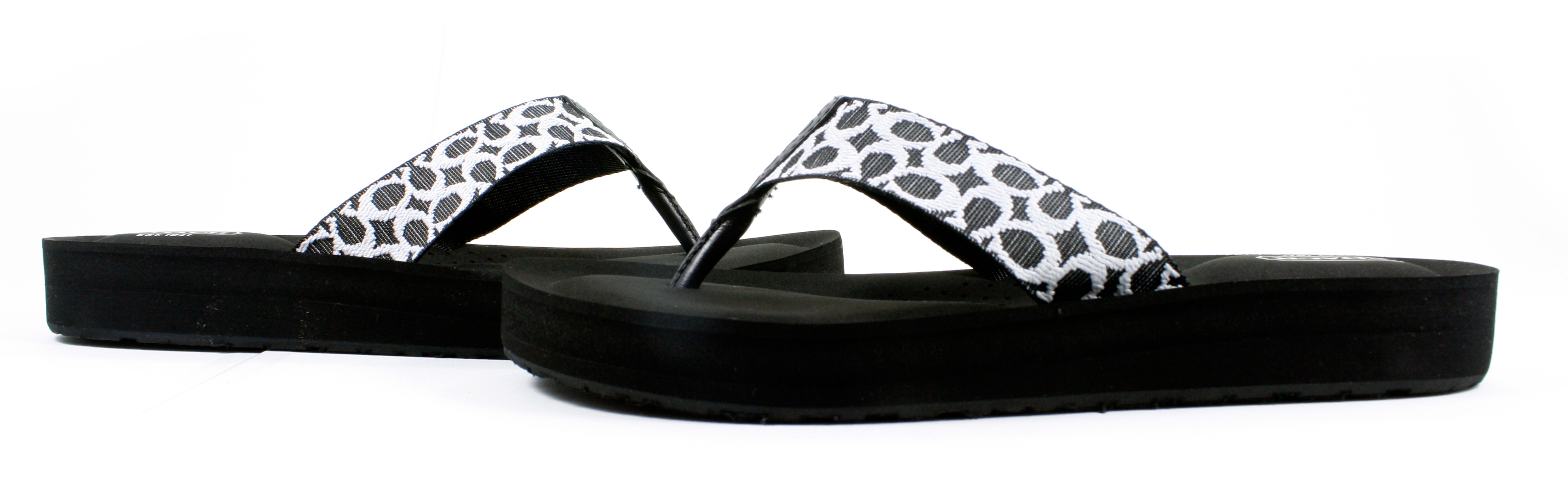 fd8e71c73 Coach Jessalyn Webbing Flip Flops Sandals Black Ivory Shoes 10 New ...