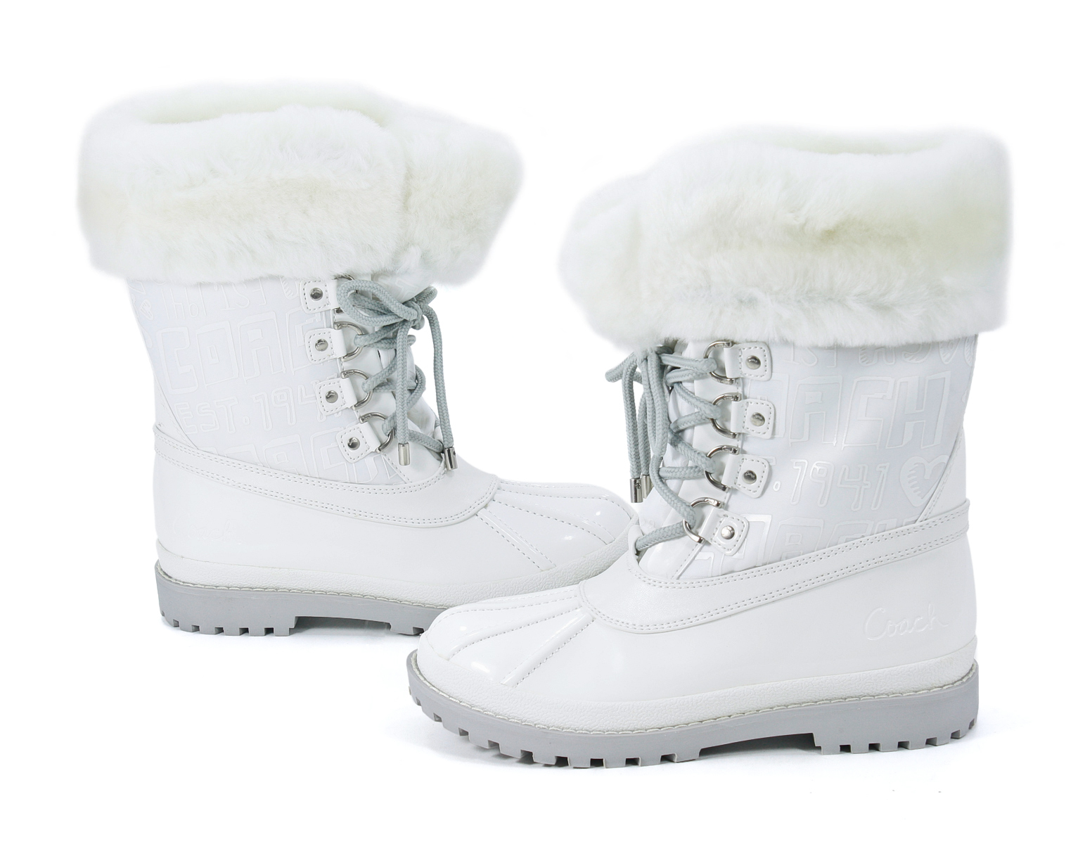 Coach Leonora Heavyweight Nylon Snow Boot White 6 5 New Ebay