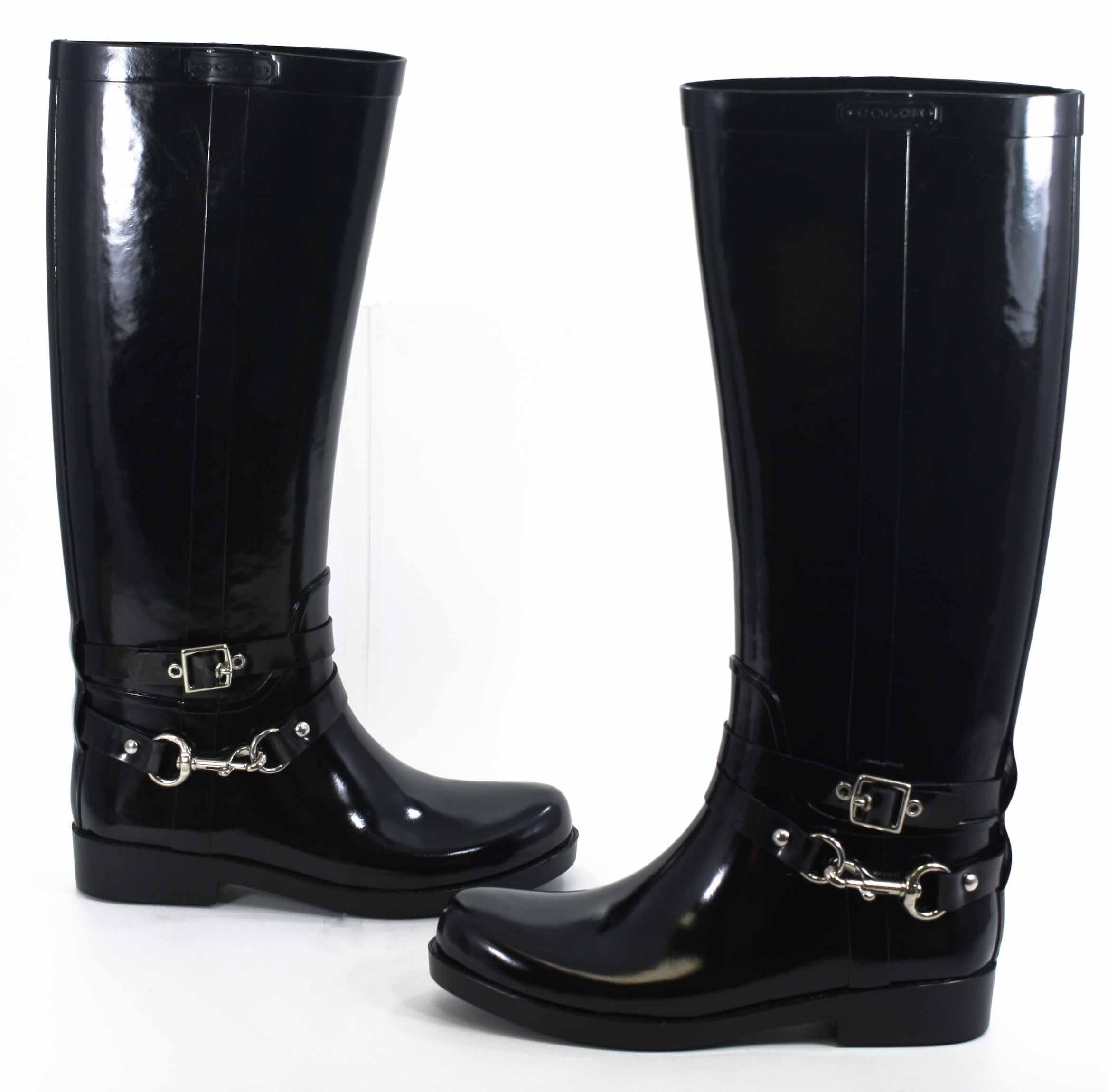 Coach Womens Lori Shiny Rubber Black Rainboots 8 New Ebay