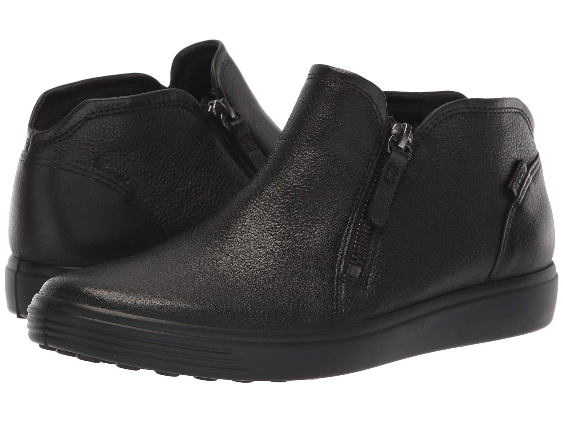 5e7daf3f9c8901 Ecco Womens Black Powder Leather Ankle Sneaker Soft 7 Low Bootie Shoe 6 New