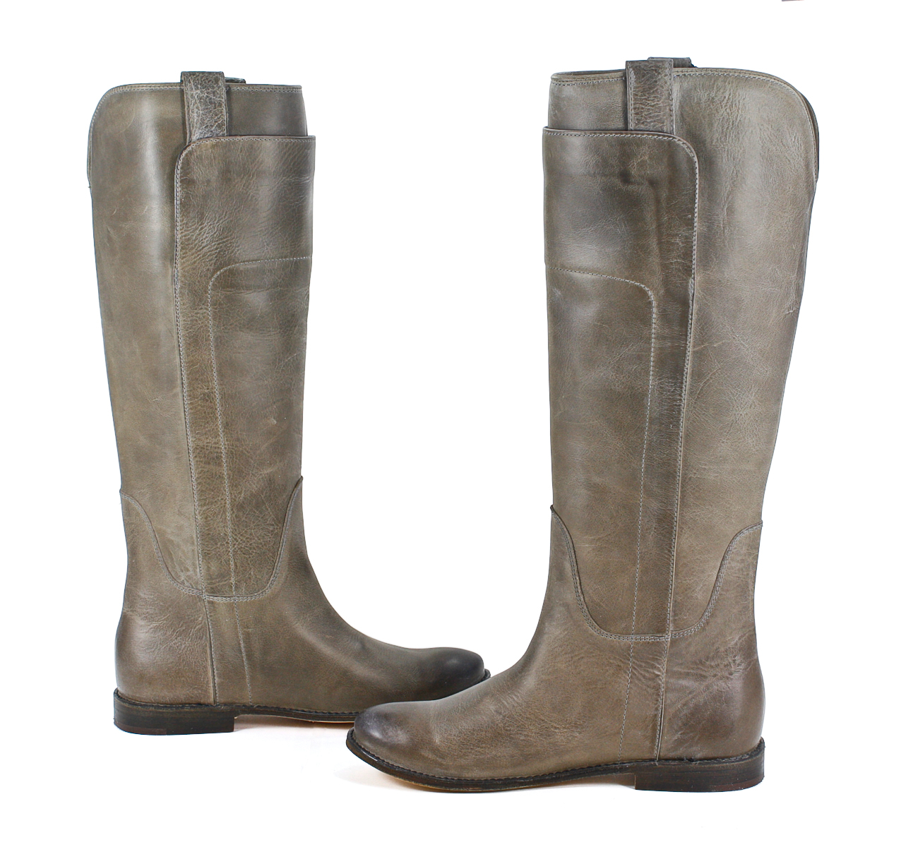 Frye Womens Paige Tall Riding Leather Grey Fashion Boot 7 ...