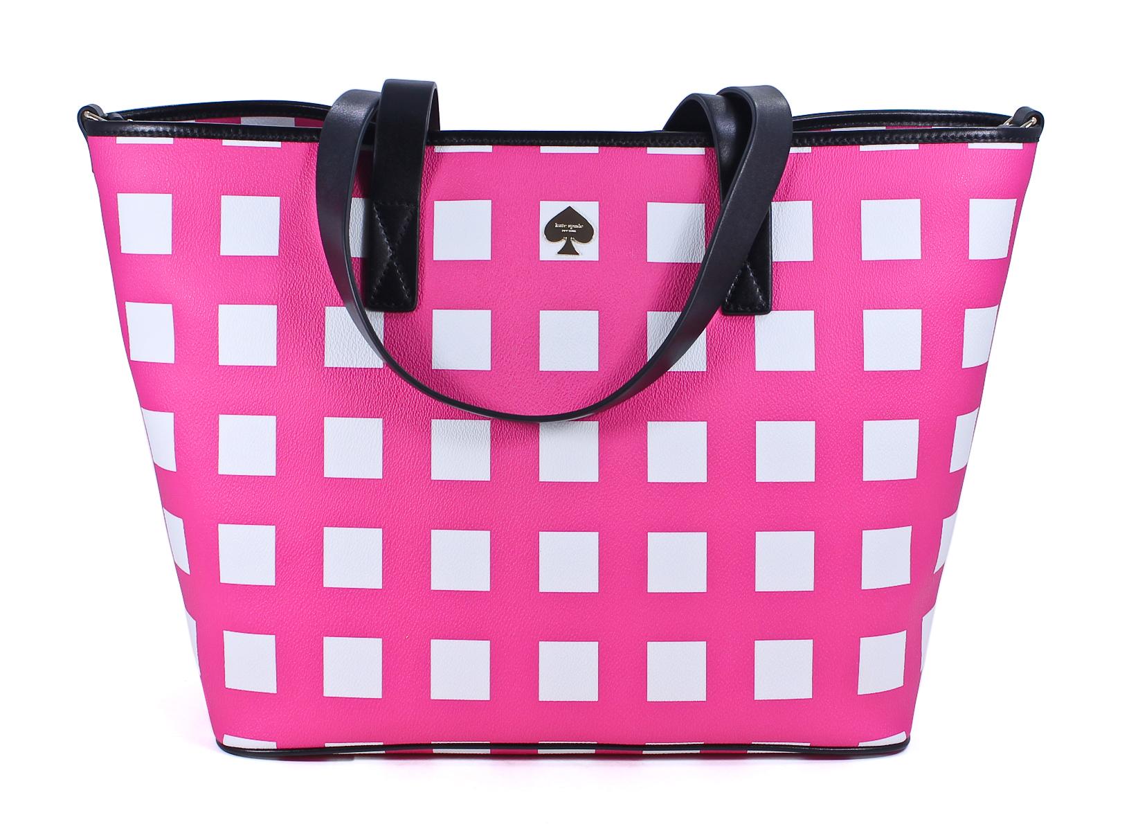 Kate Spade Pink White Nylon Checker Place Harmony Baby Bag New